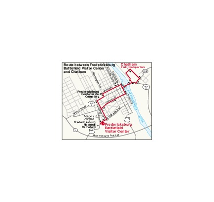 Mapa Detallado de la Ruta Entre Fredericksburg y Chatham, Parque Militar Nacional Fredericksburg y Spotsylvania, Virginia, Estados Unidos