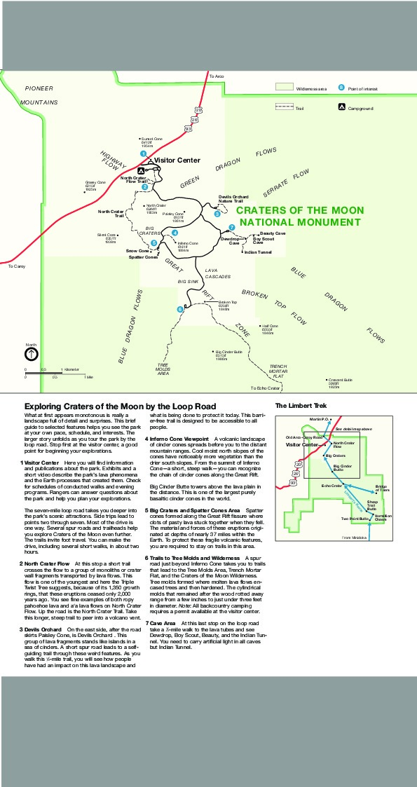 Detail Map of Craters of the Moon National Monument, Idaho, United States