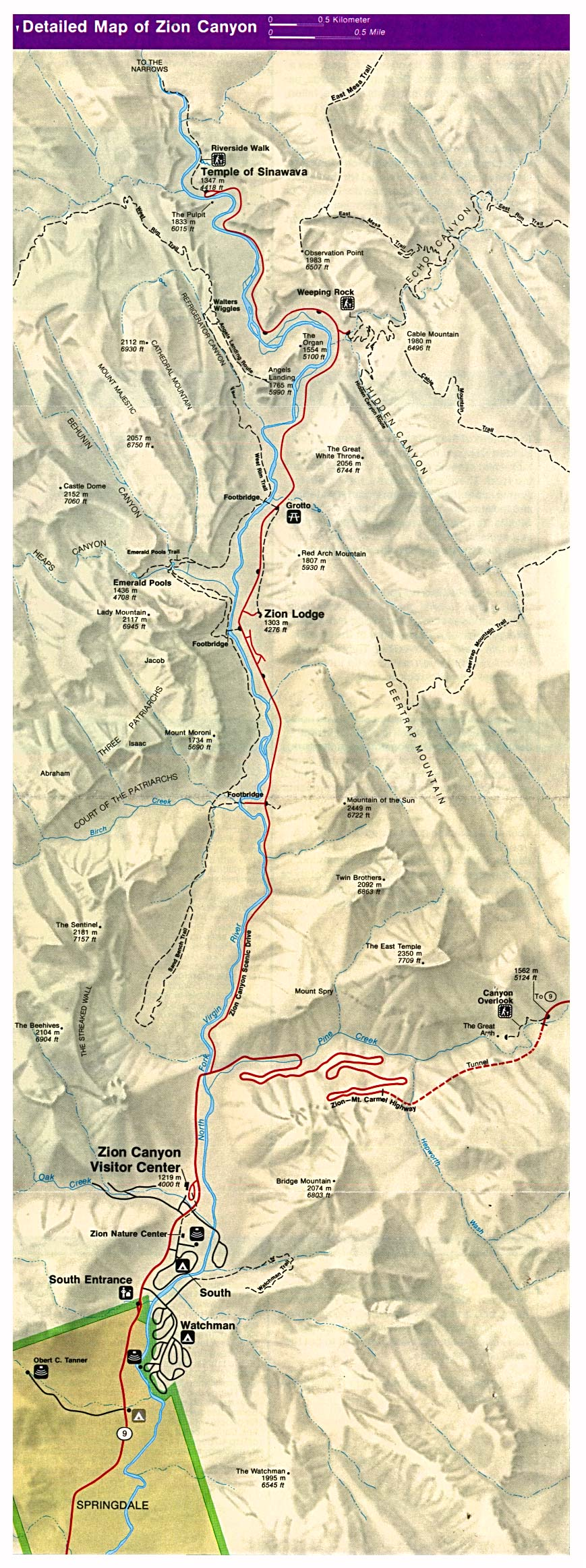 Detail Map of Zion National Park, Utah, United States
