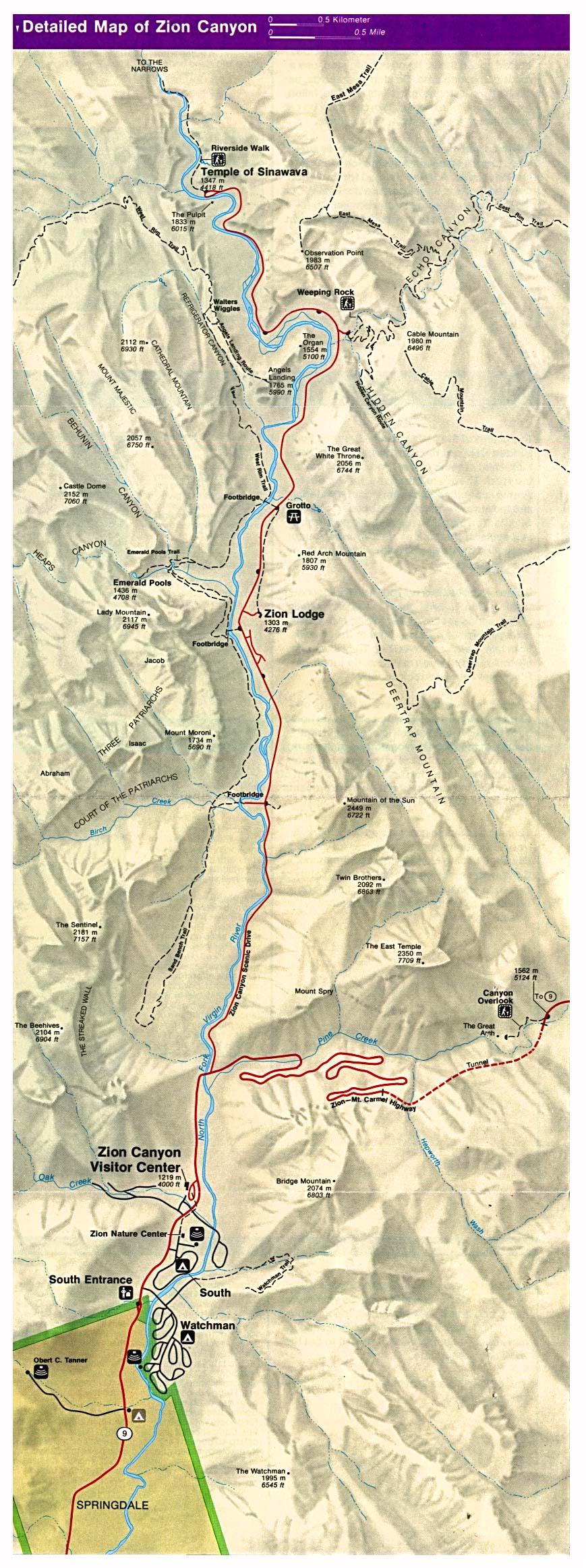 Mapa Detallado del Parque Nacional Zion, Utah, Estados Unidos