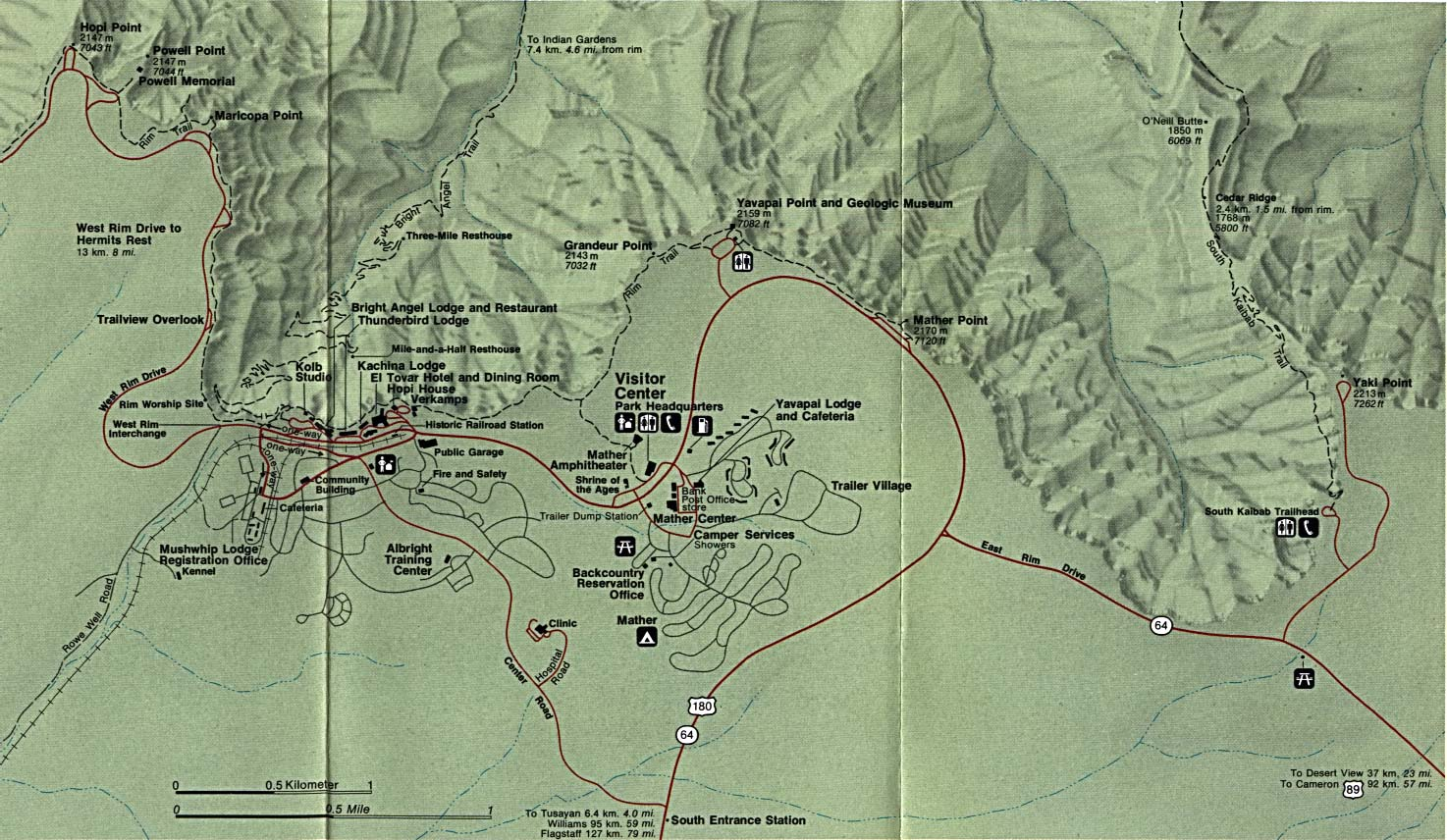 Grand Canyon National Park Grand Canyon Village Detail Map, Arizona, United States