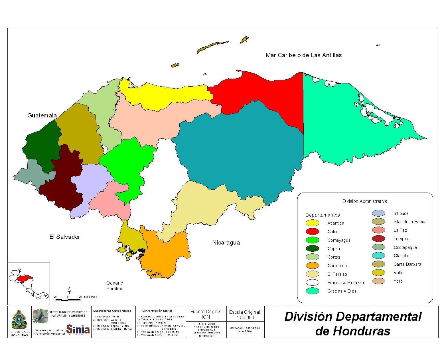 Mapa División Departamental, Honduras
