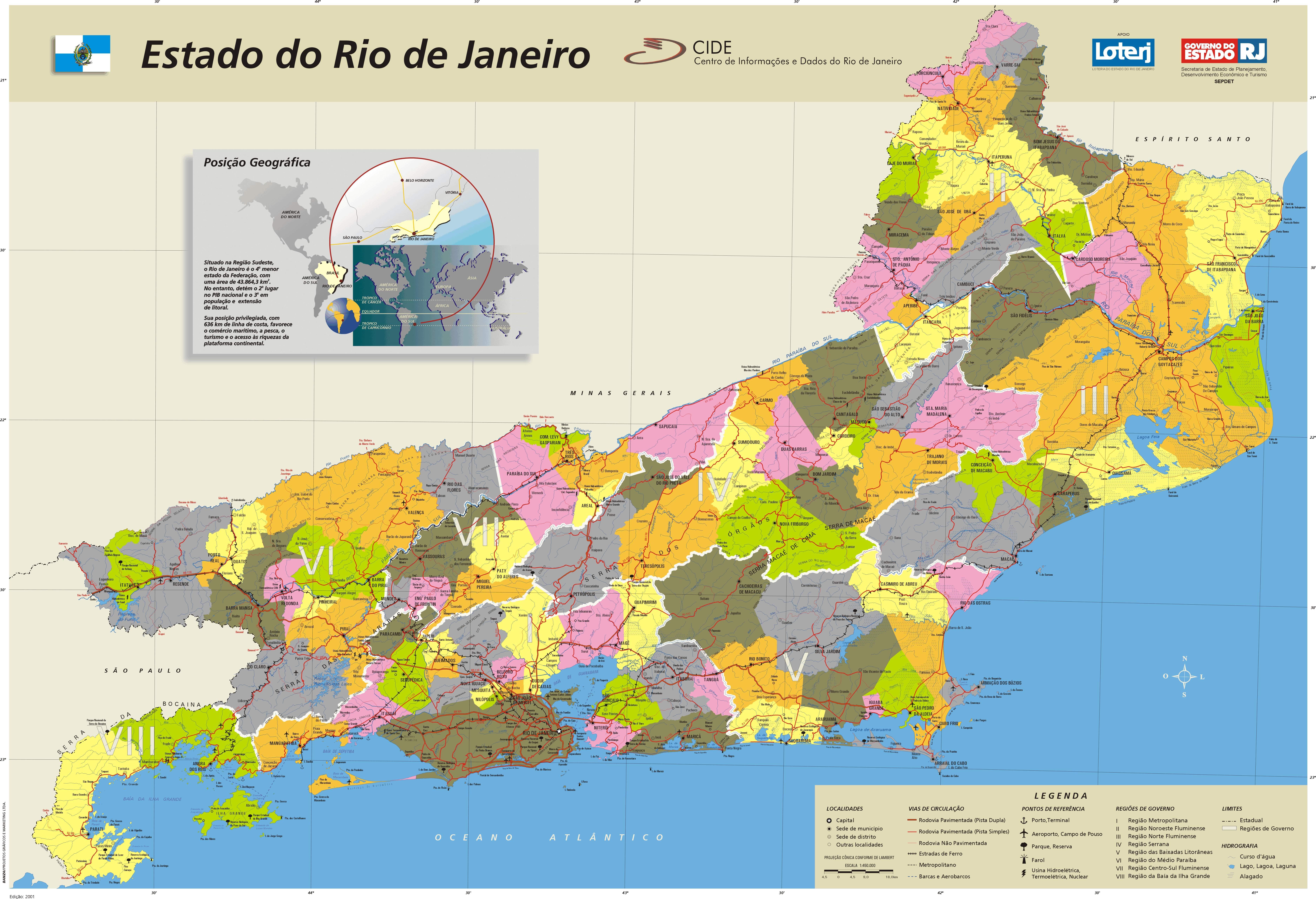 Rio de Janeiro State Political Administrative Divisions Map, Brazil