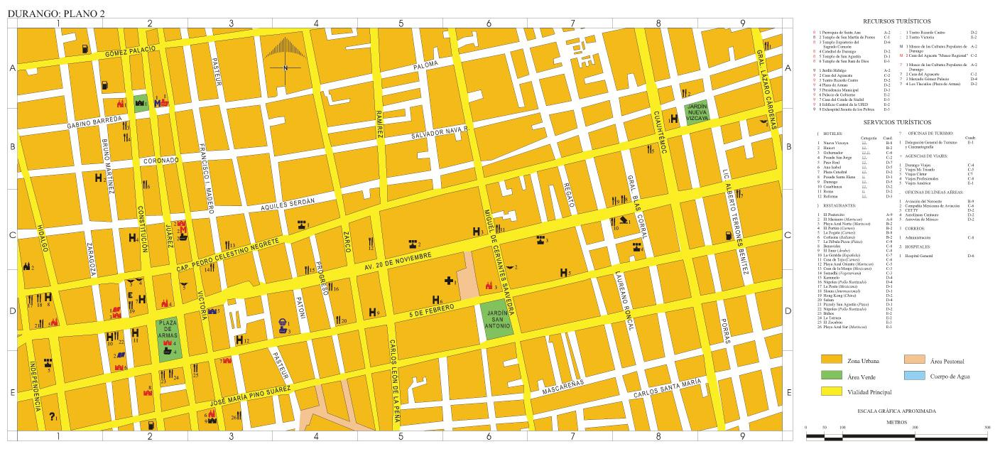 Durango Downtown City Map, Durango, Mexico