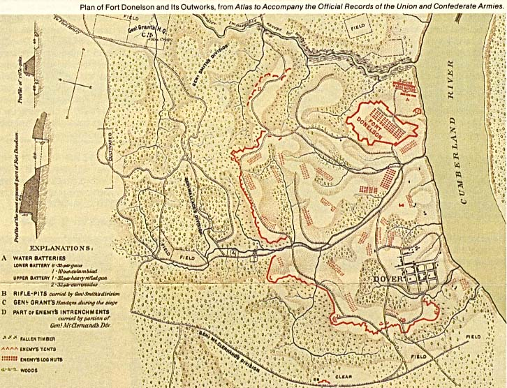 Schematic Map of Fort Donelson National Battlefield, Tennessee, United States