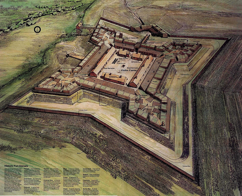 Mapa-Esquema del Monumento Nacional Fort Stanwix, Nueva York, Estados Unidos