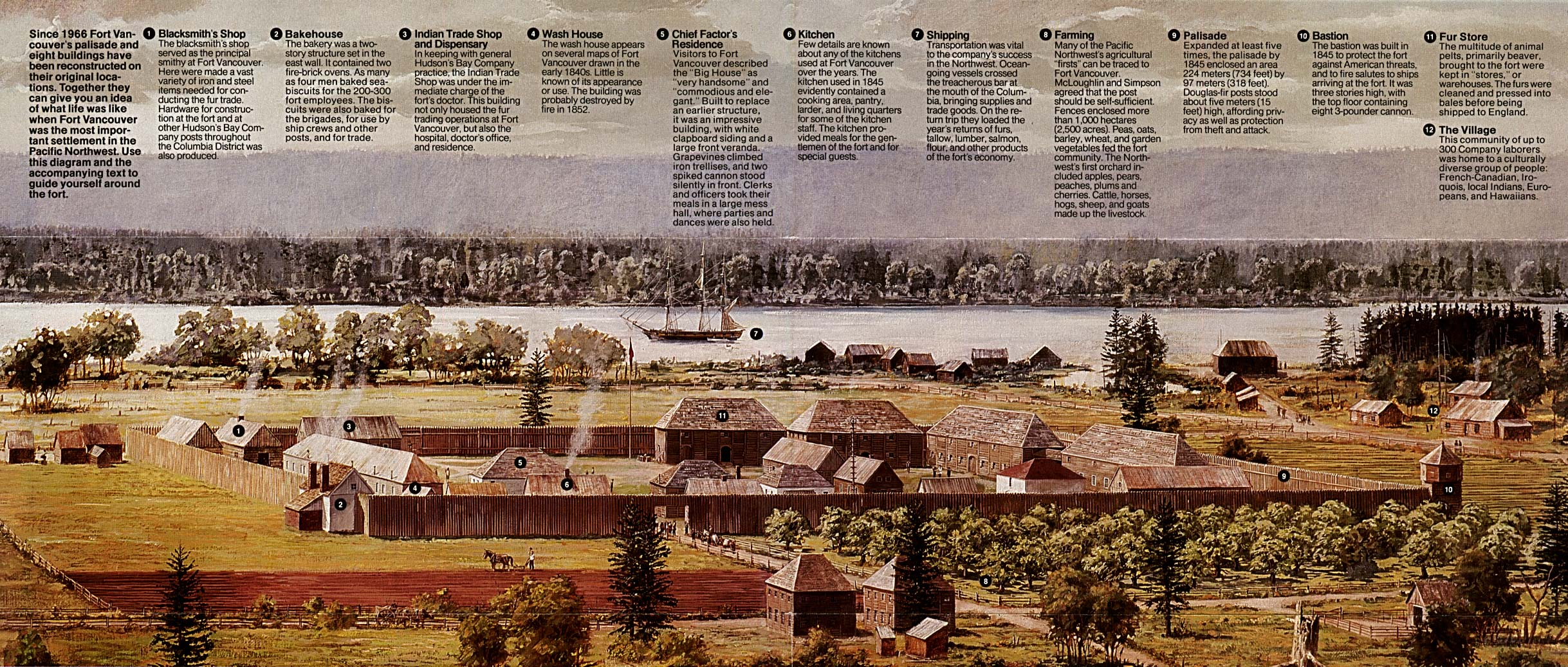 Fort Vancouver National Historic Site Schematic Map, Washington, United States