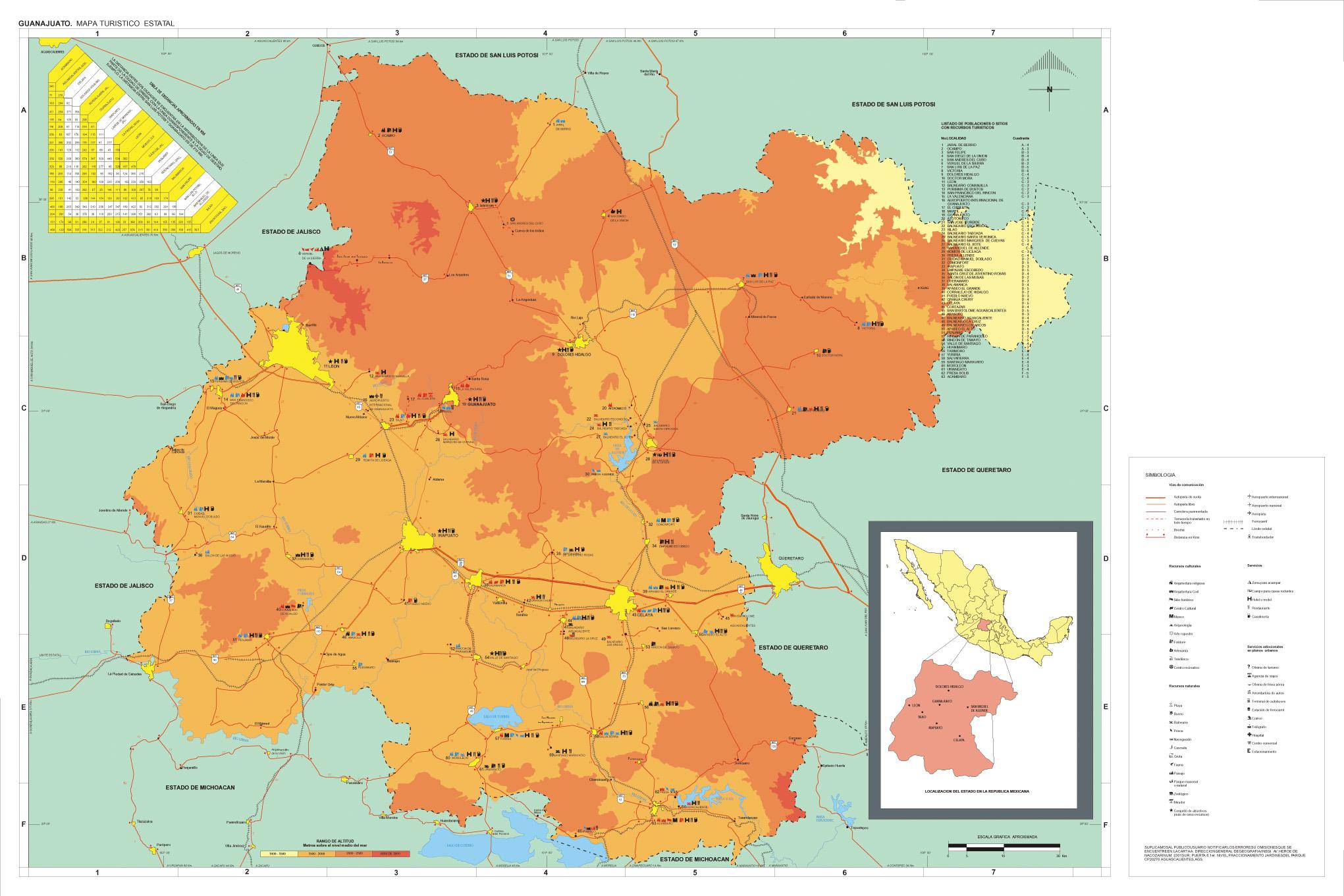 Guanajuato State Map, Mexico