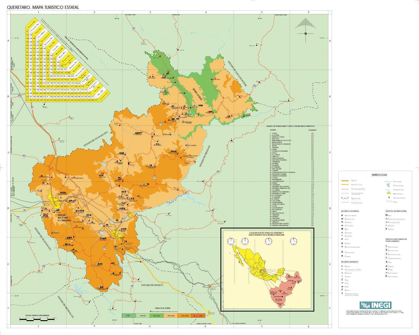 Queretaro State Map, Mexico