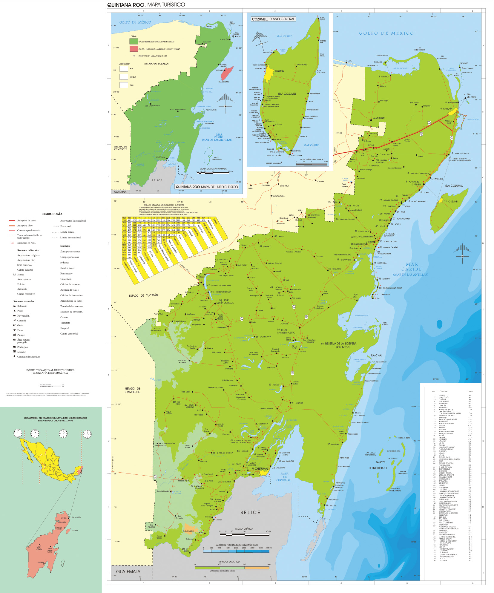 Mapa Estado de Quintana Roo, Mexico