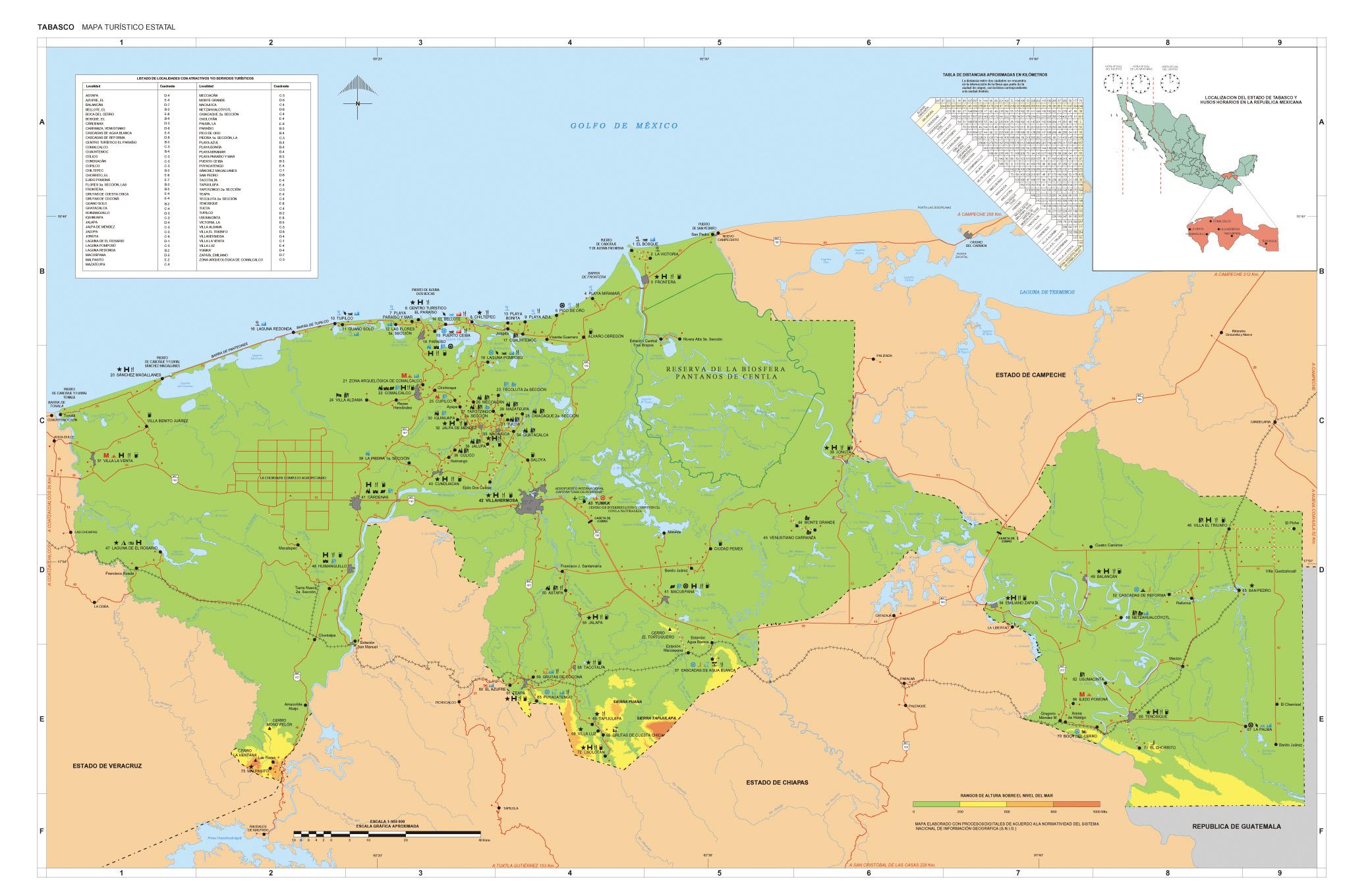 Mapa Estado de Tabasco, Mexico