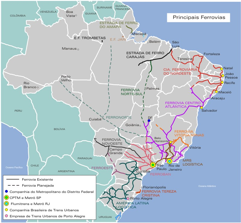Brazil Main Railways Map