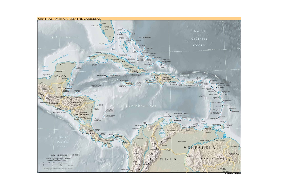 Central America and the Caribbean Shaded Relief Map