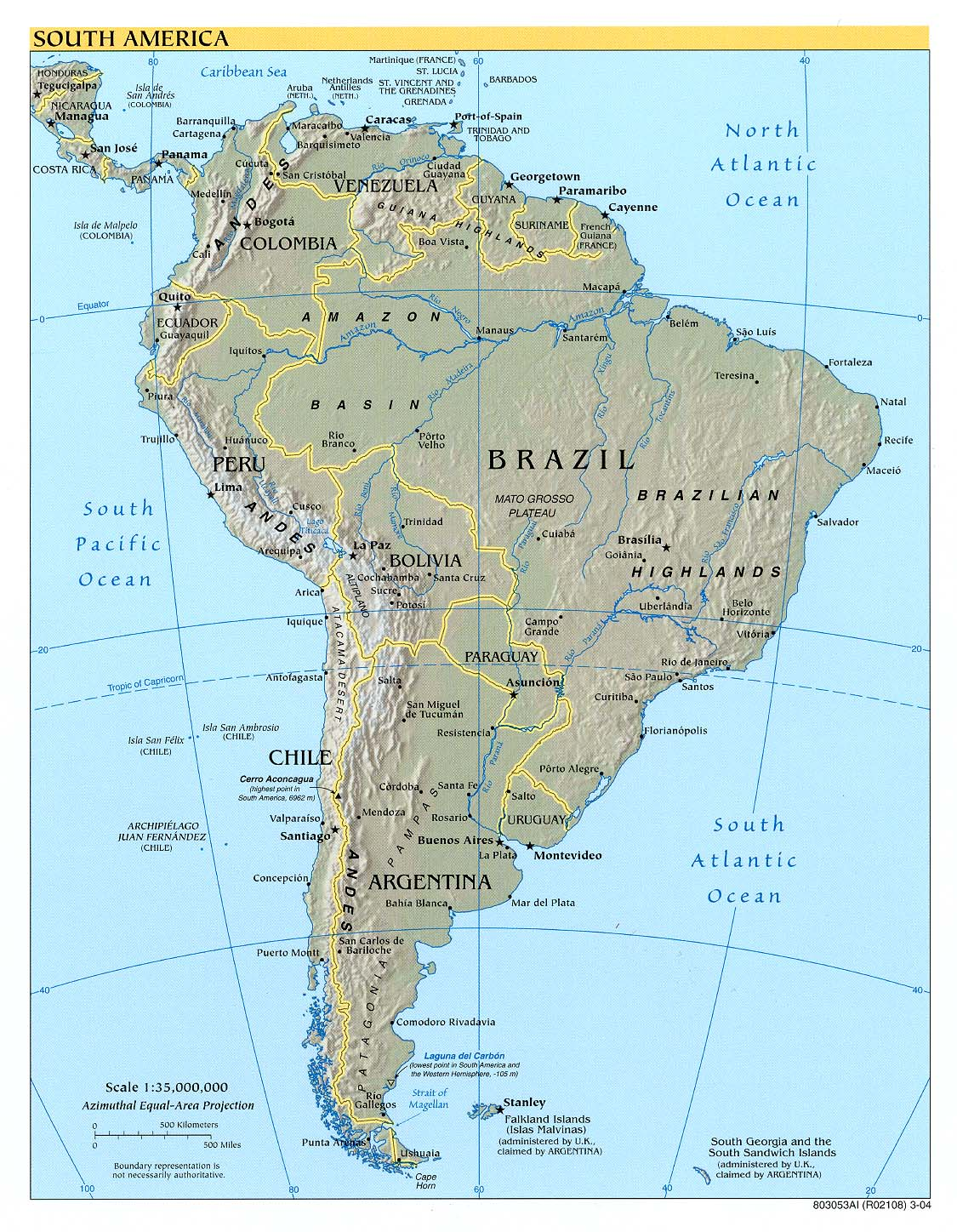 South America physical map 2004
