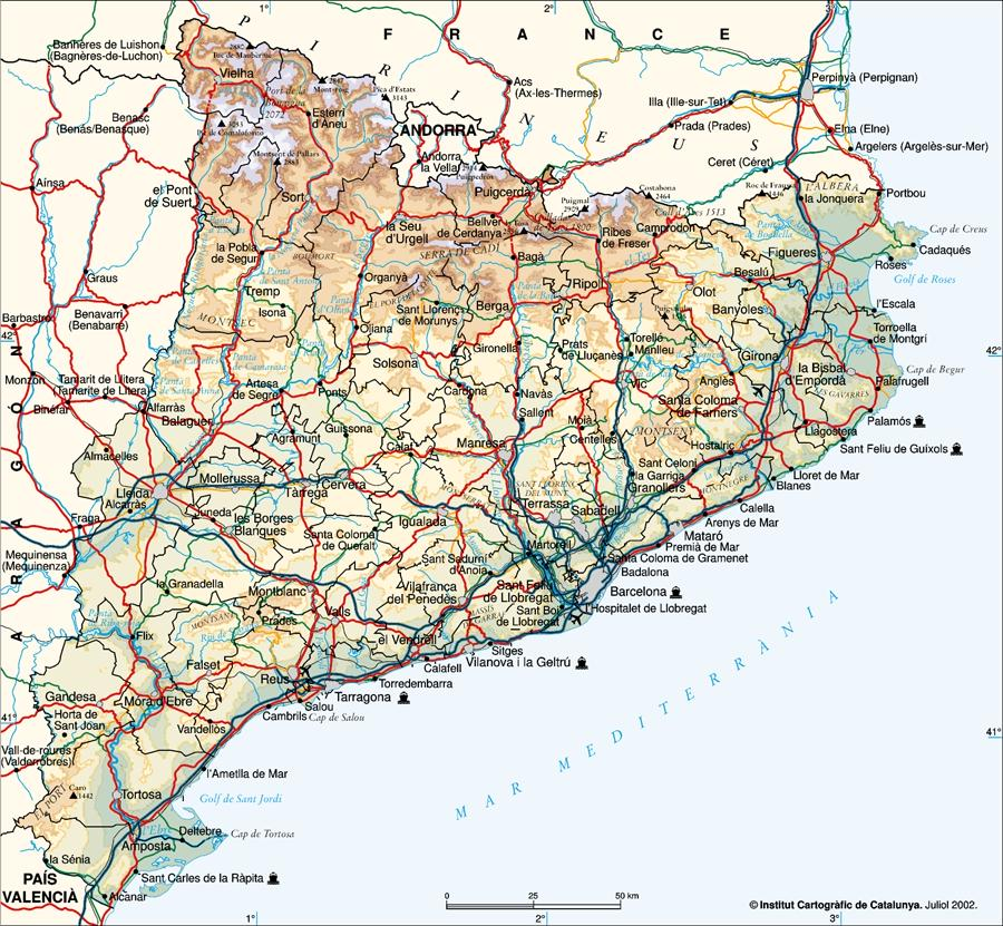 Catalonia Physical Map