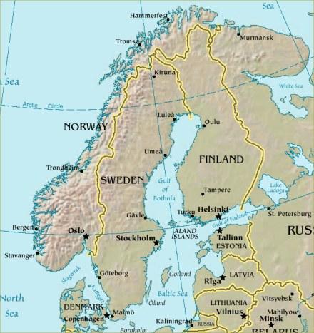 Mapa F�sico de Escandinavia