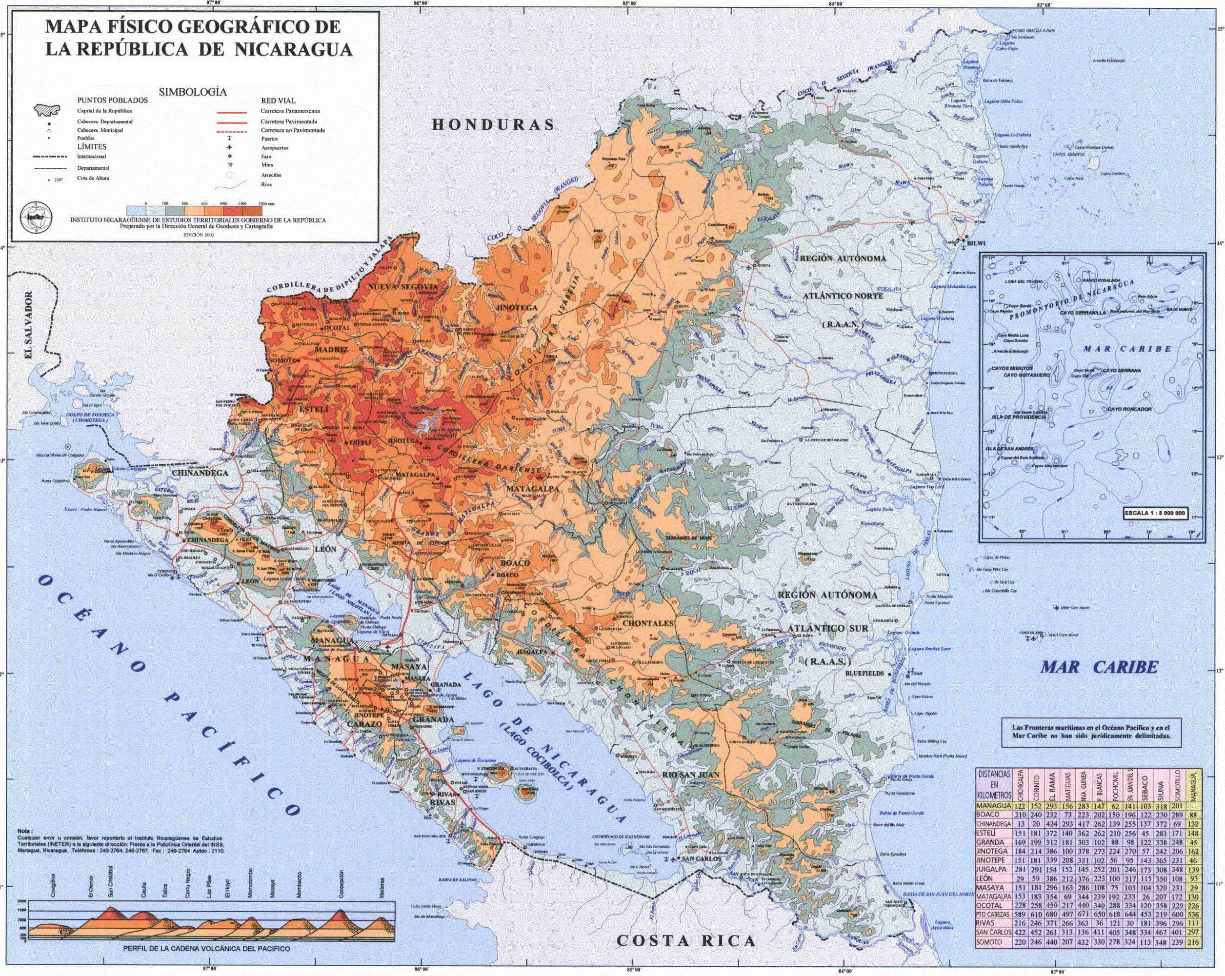 Mapa Físico de Nicaragua