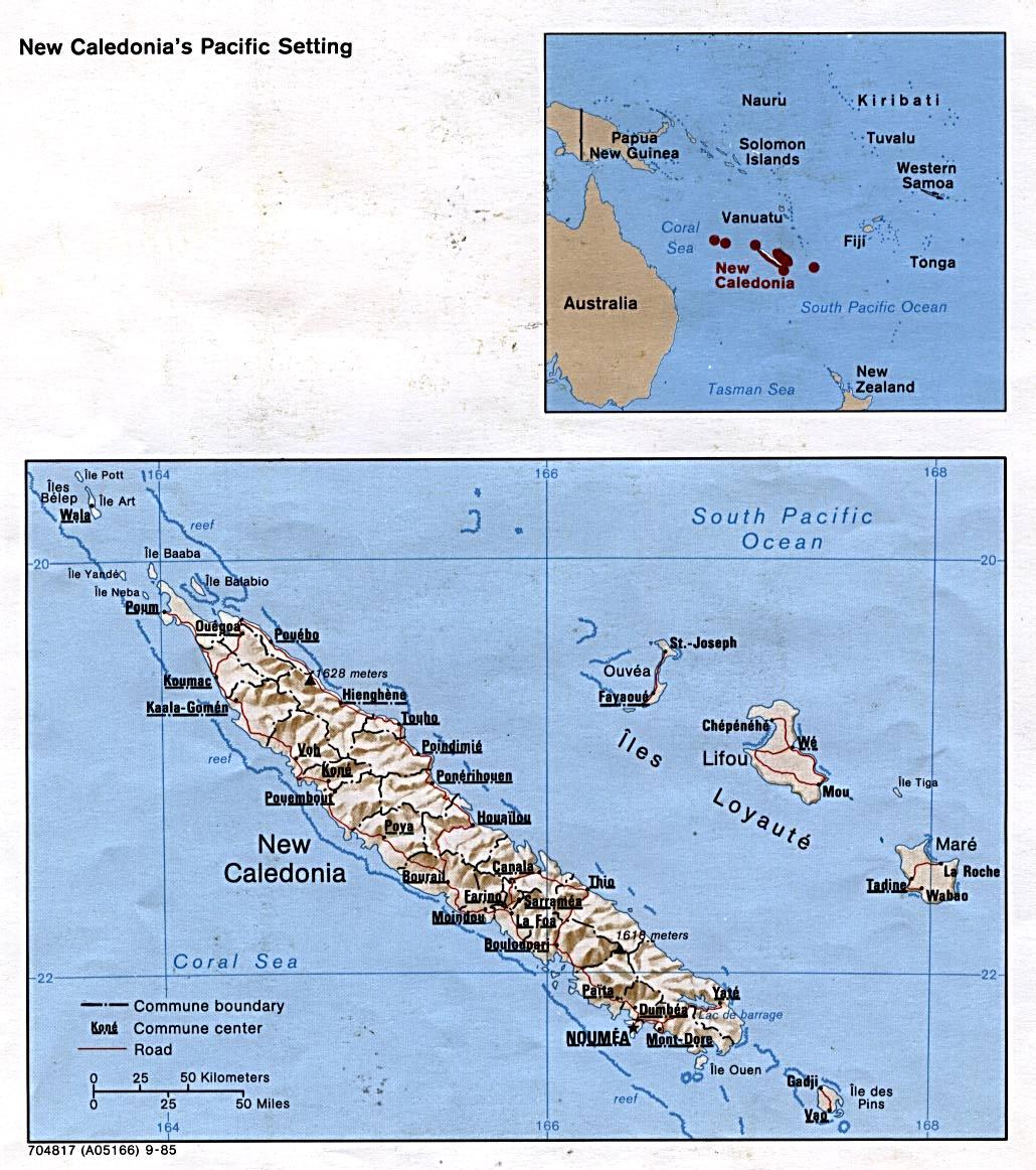 Mapa Físico de Nueva Caledonia