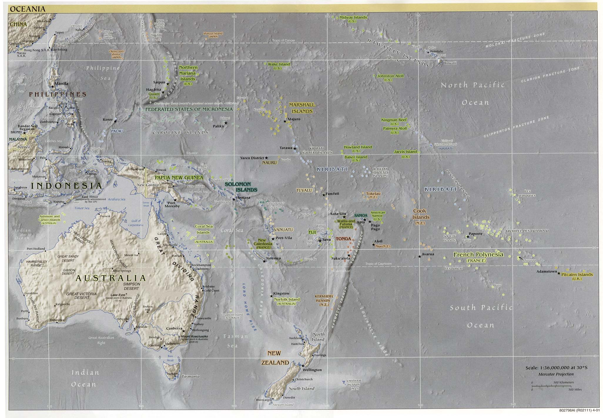Oceania physical map 2001