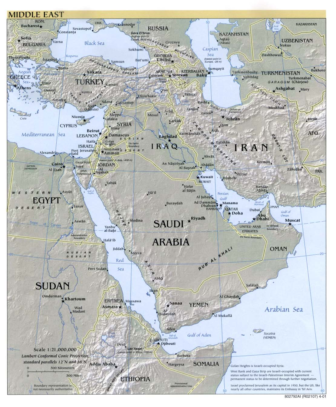 Middle East physical map 2001