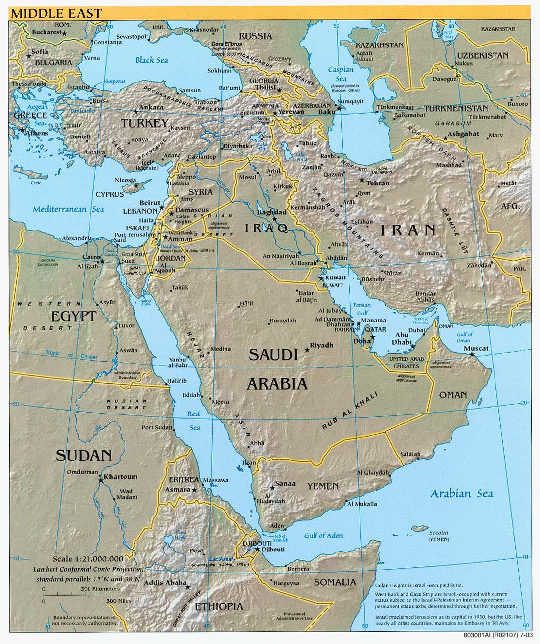 Middle East physical map 2003