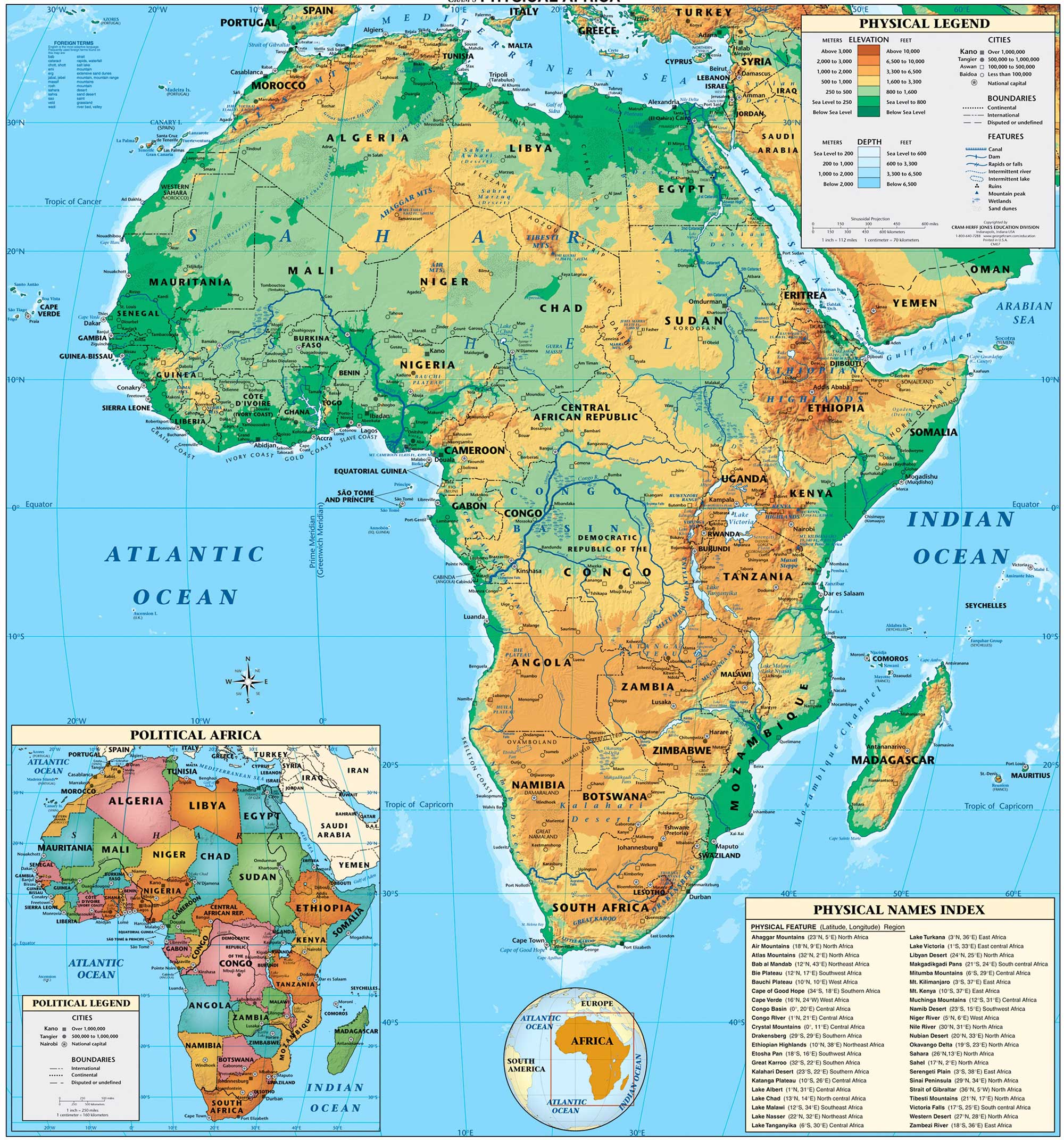Africa physical map