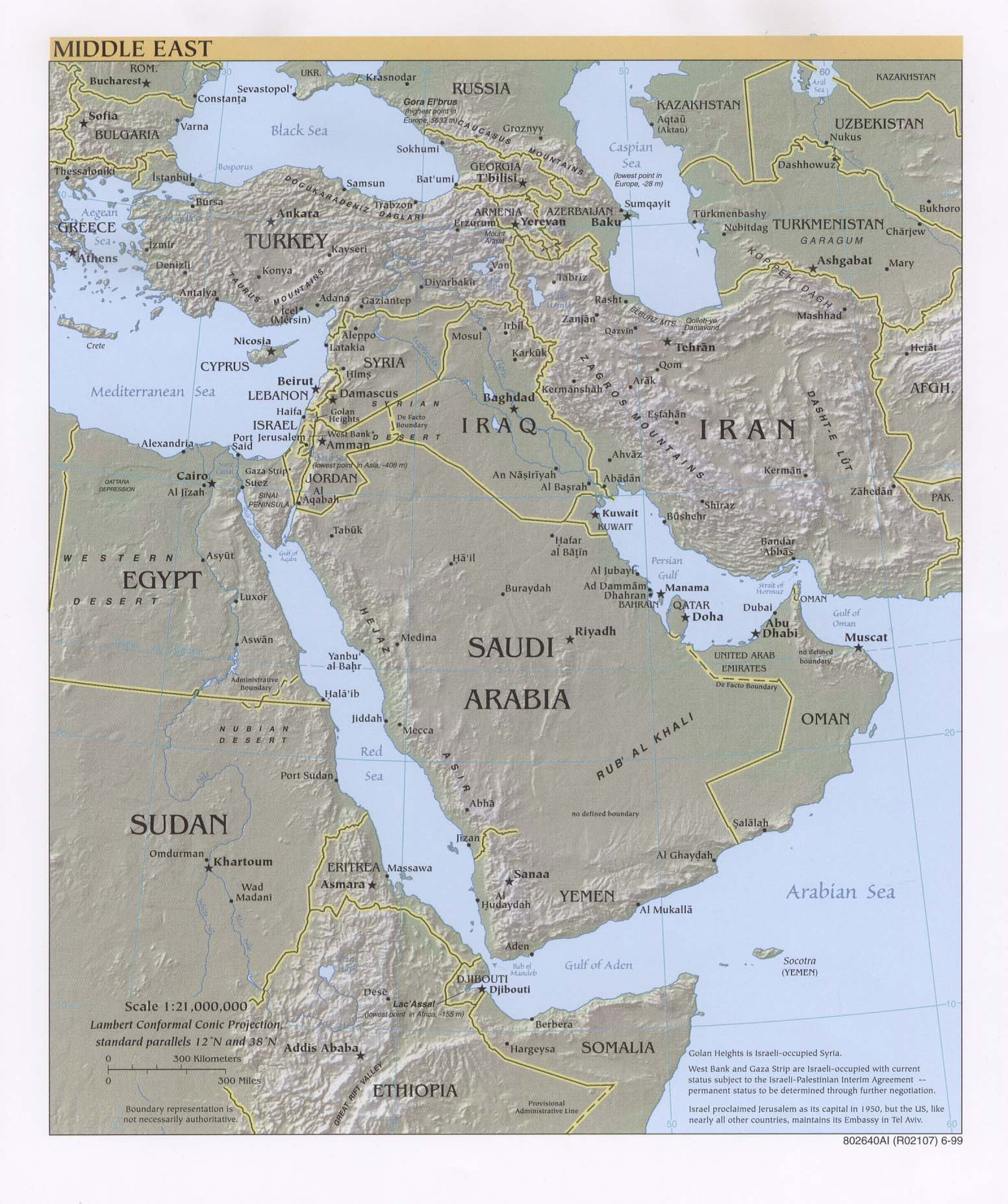 Middle East physical map 1999