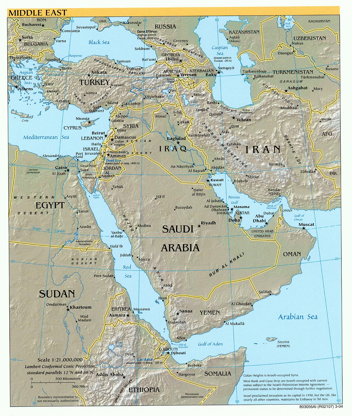 Middle East physical map 2004
