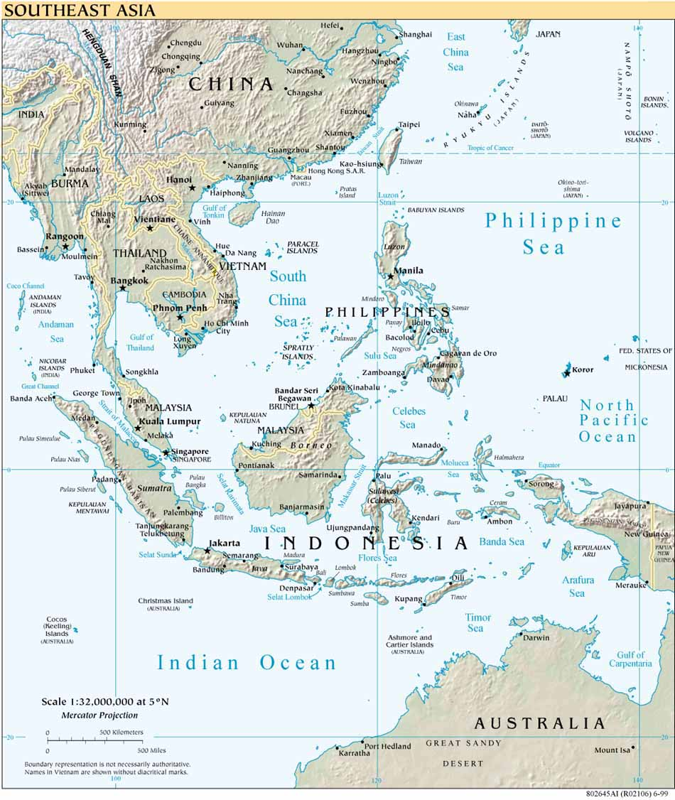 Southeast Asia Shaded Relief Map 1999