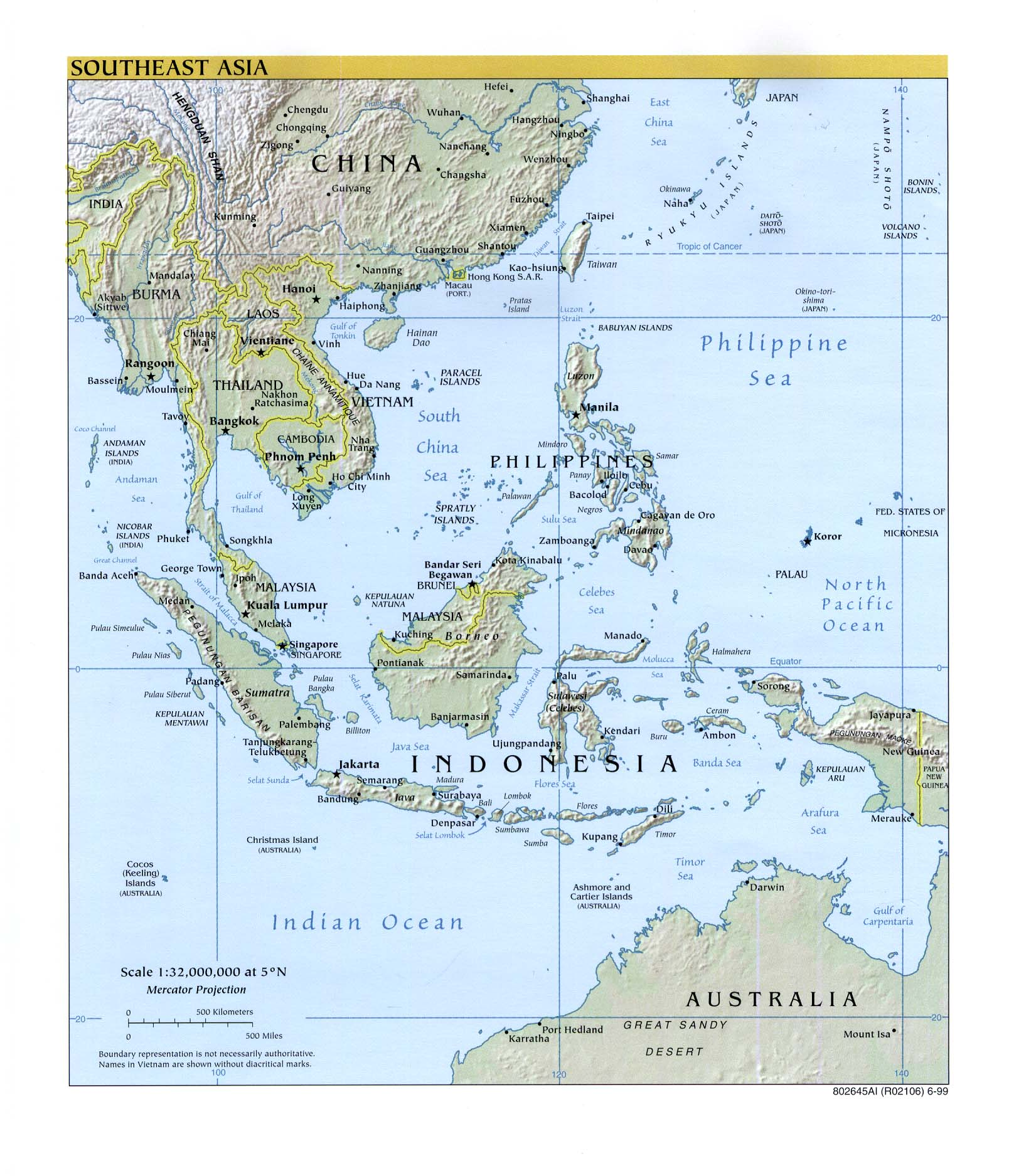 Southeast Asia physical map 1999