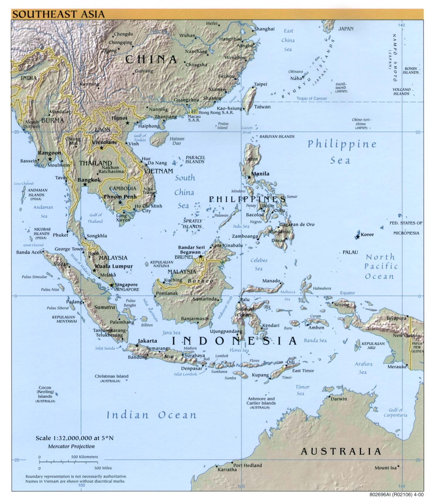 Southeast Asia physical map 2000
