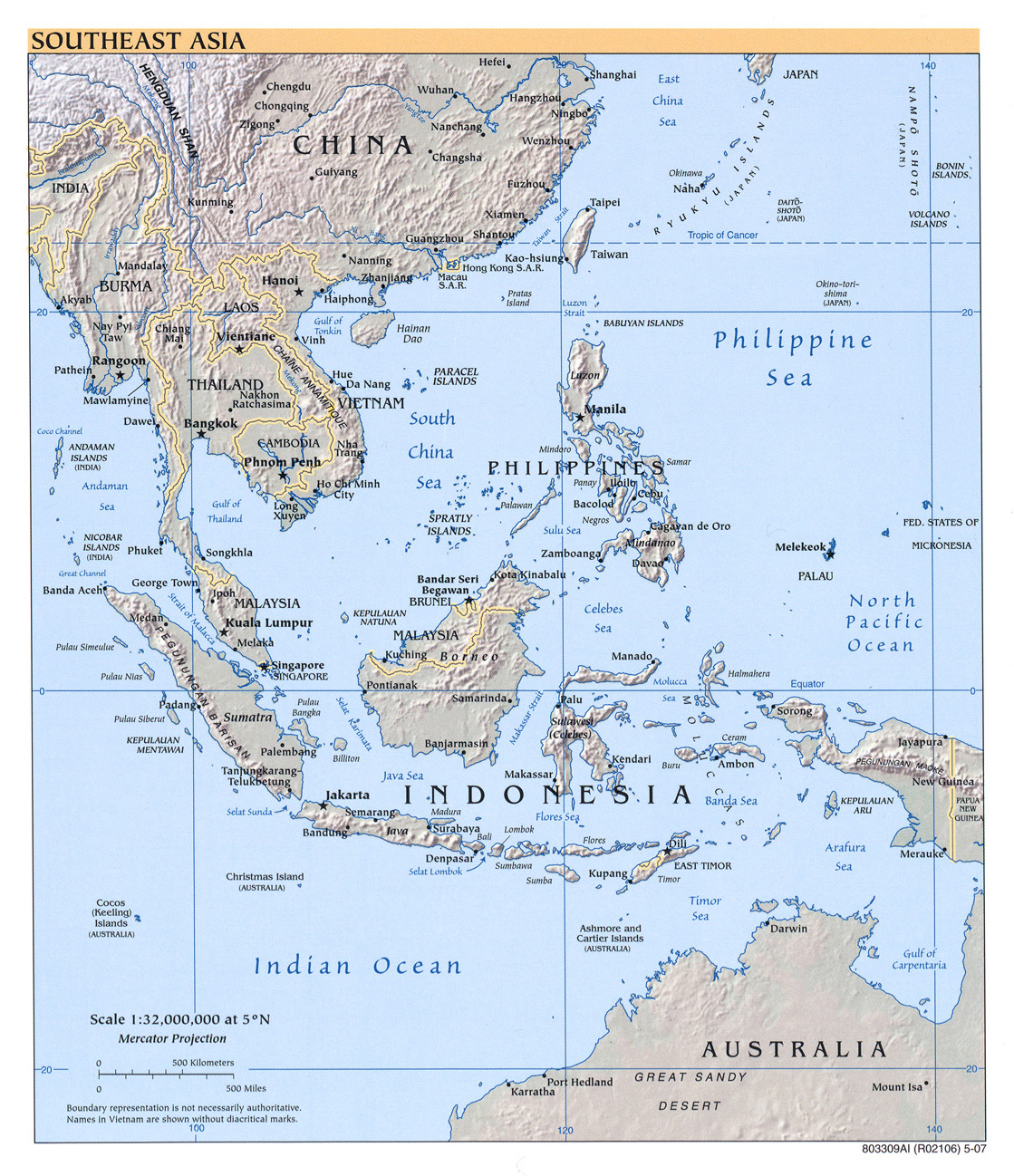 Southeast Asia physical map 2007