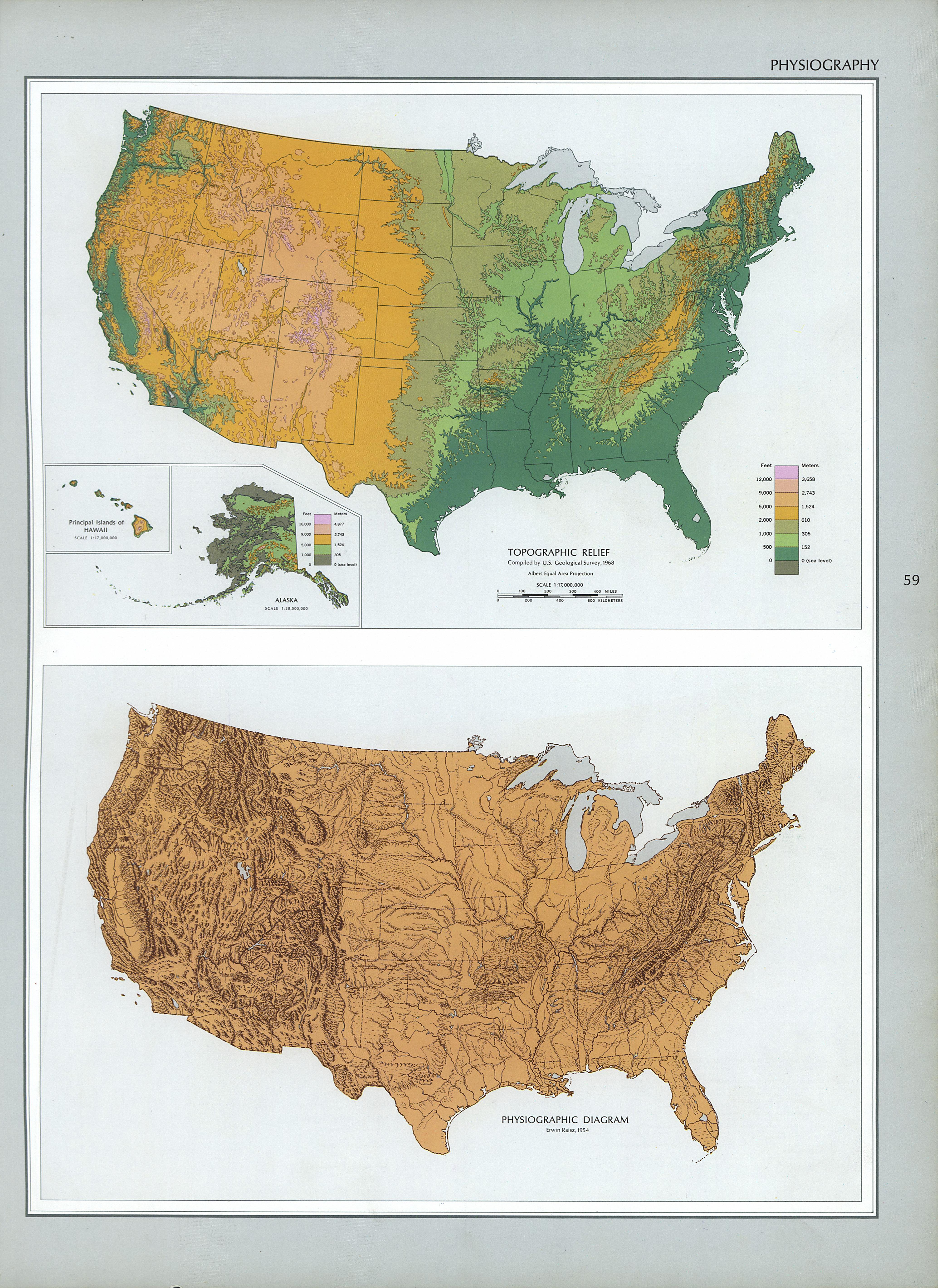 United States Physiography Map 1970