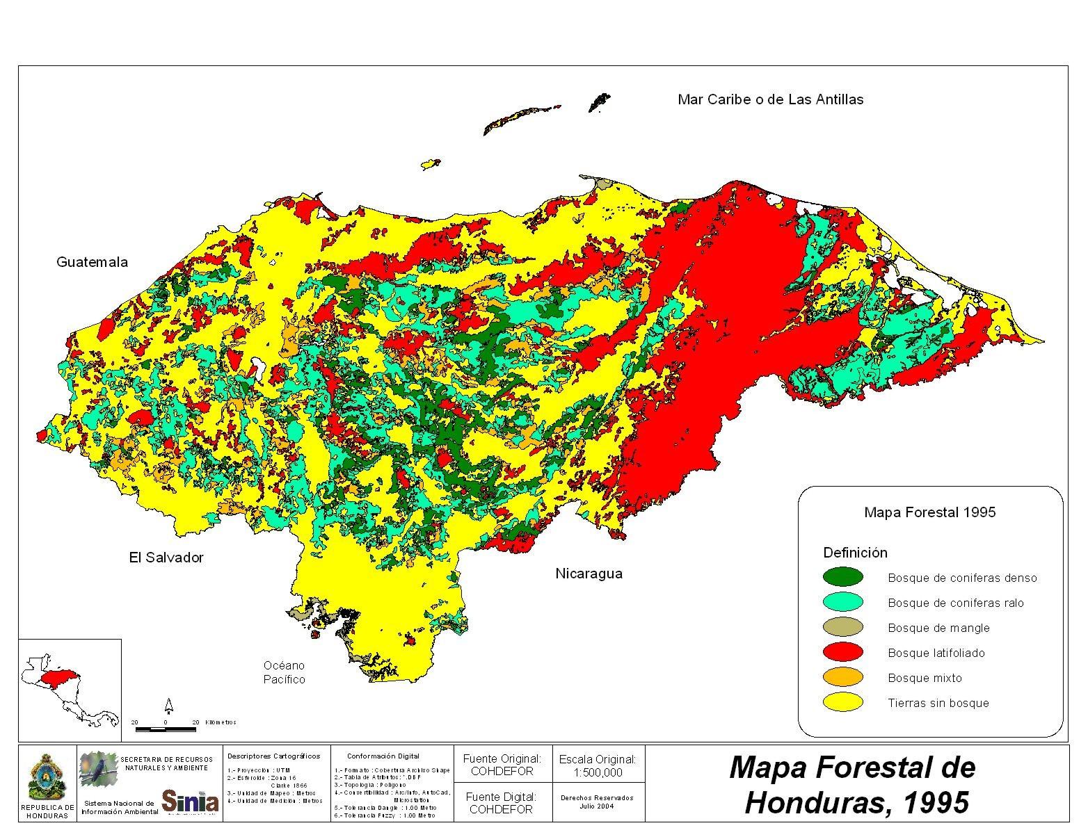 Mapa Forestal de Honduras