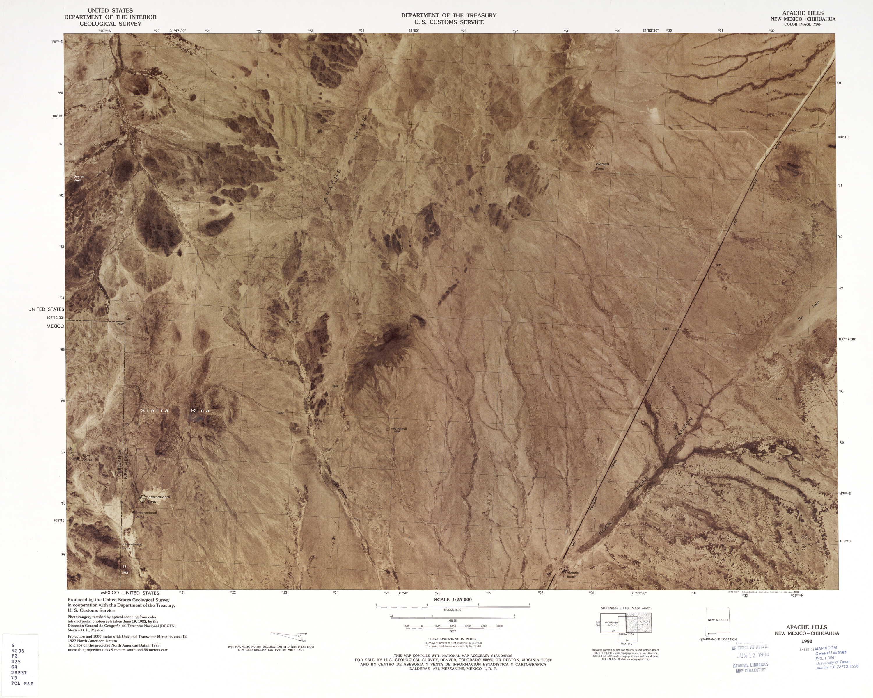 United States-Mexico Border Map, Apache Hills