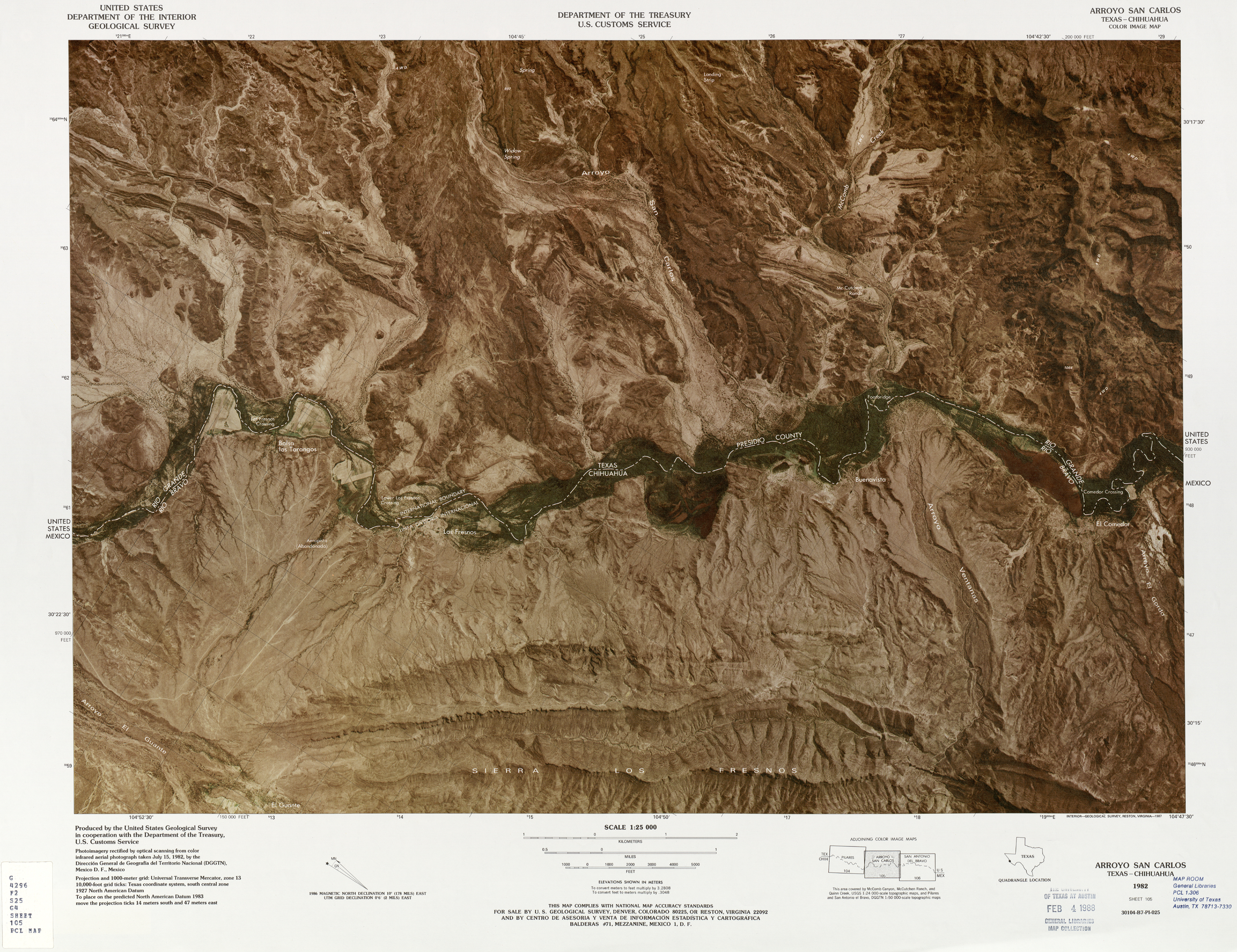 United States-Mexico Border Map, Arroyo San Carlos