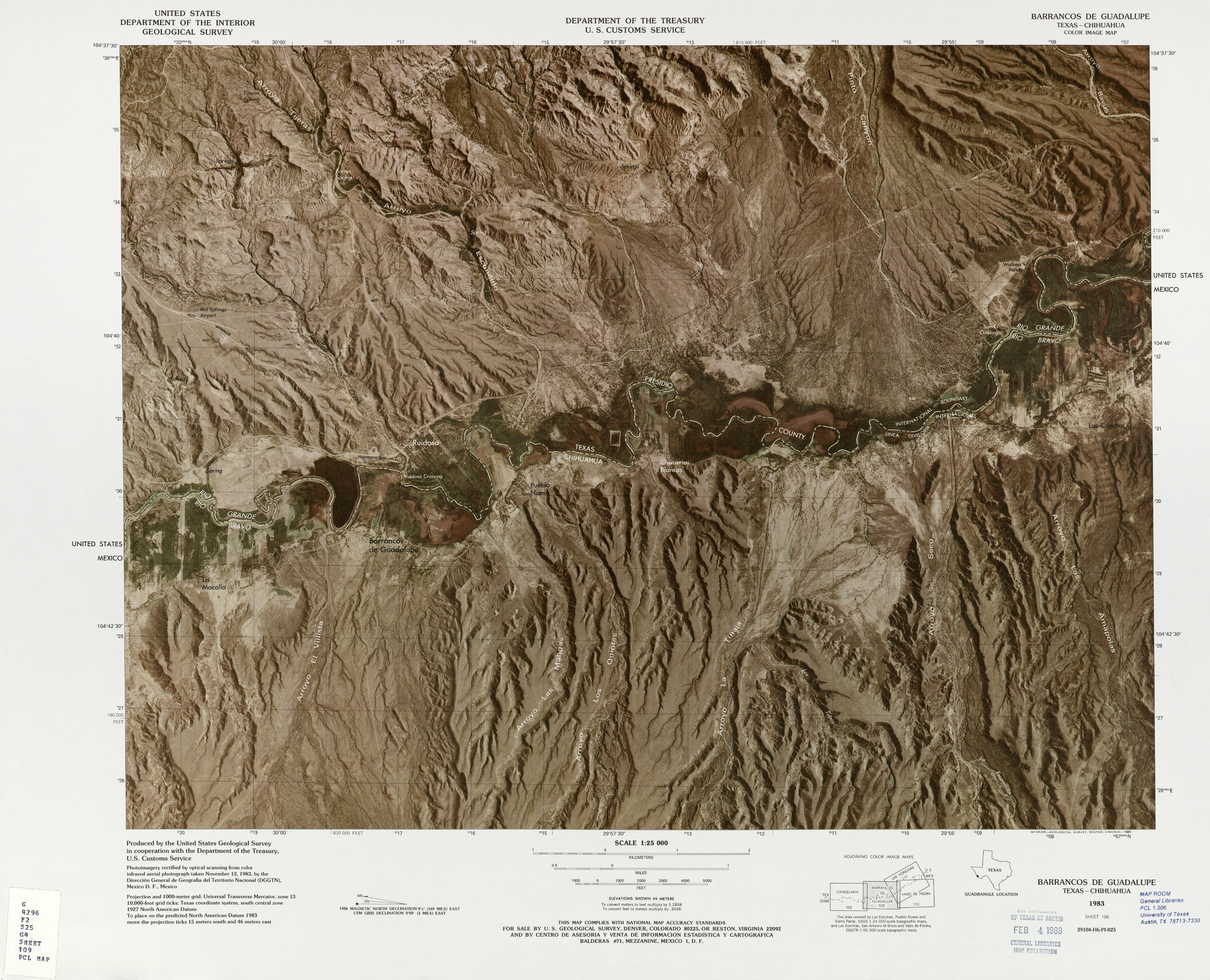 United States-Mexico Border Map, Barrancos De Guadalupe