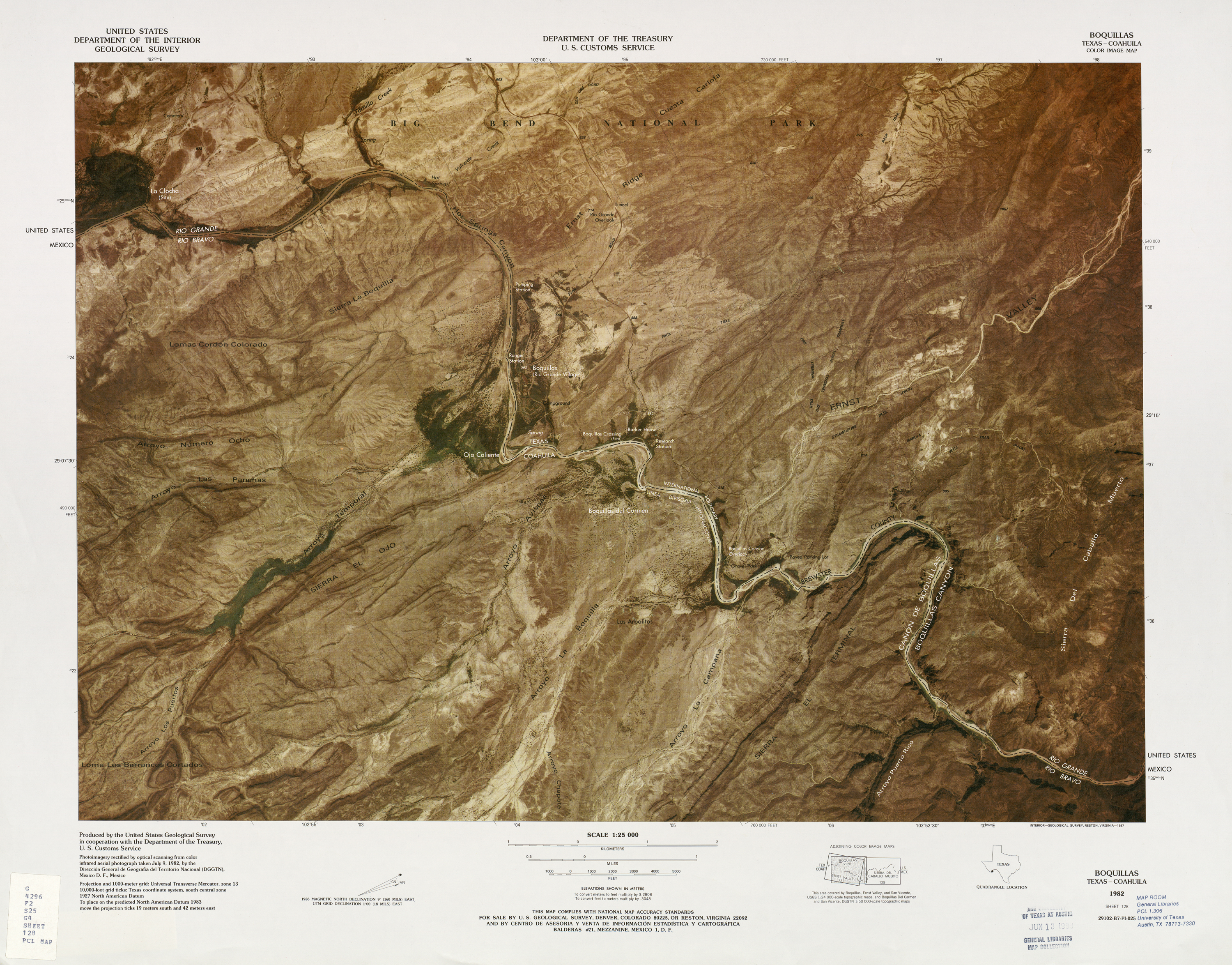 United States-Mexico Border Map, Boquillas