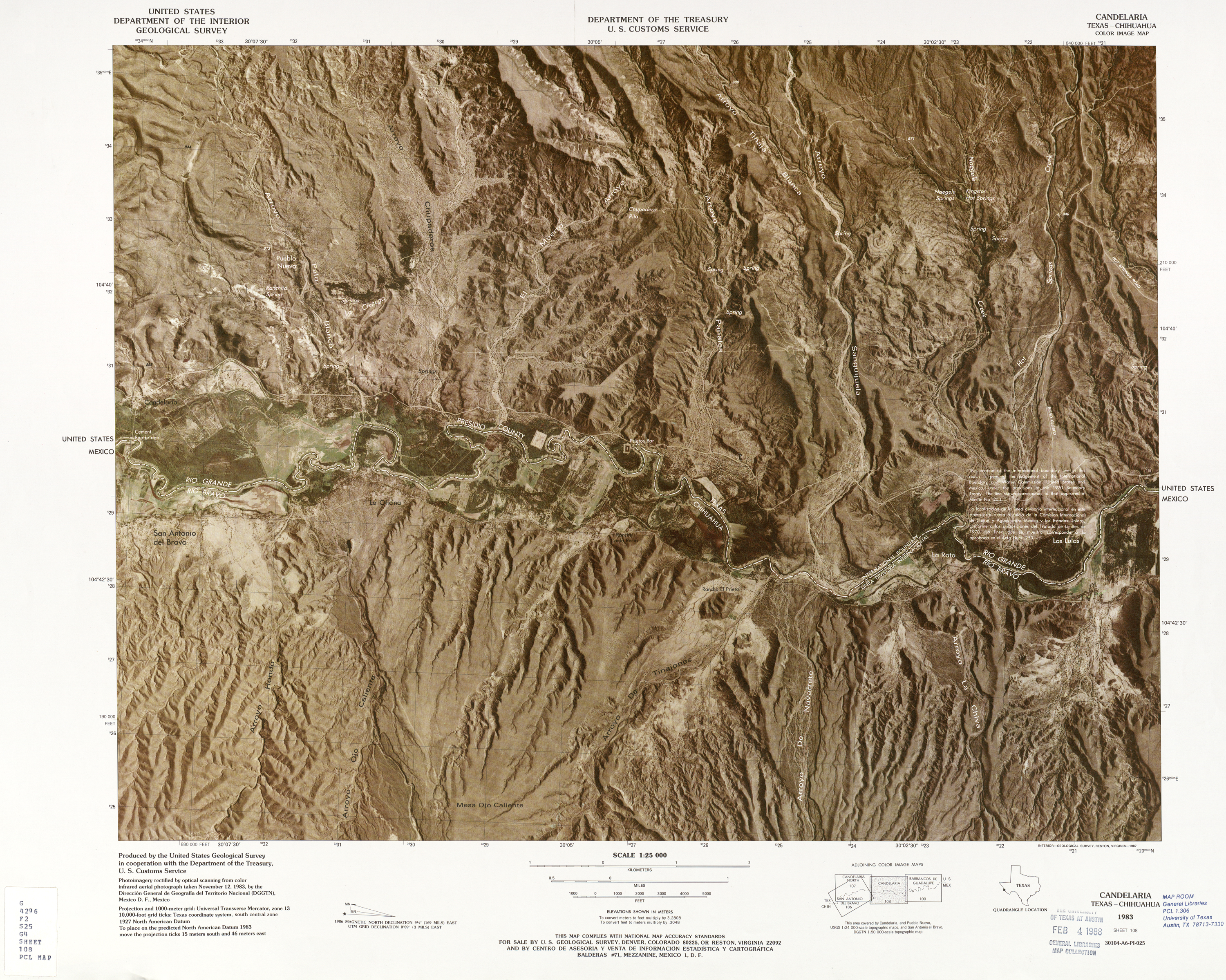 United States-Mexico Border Map, Candelaria