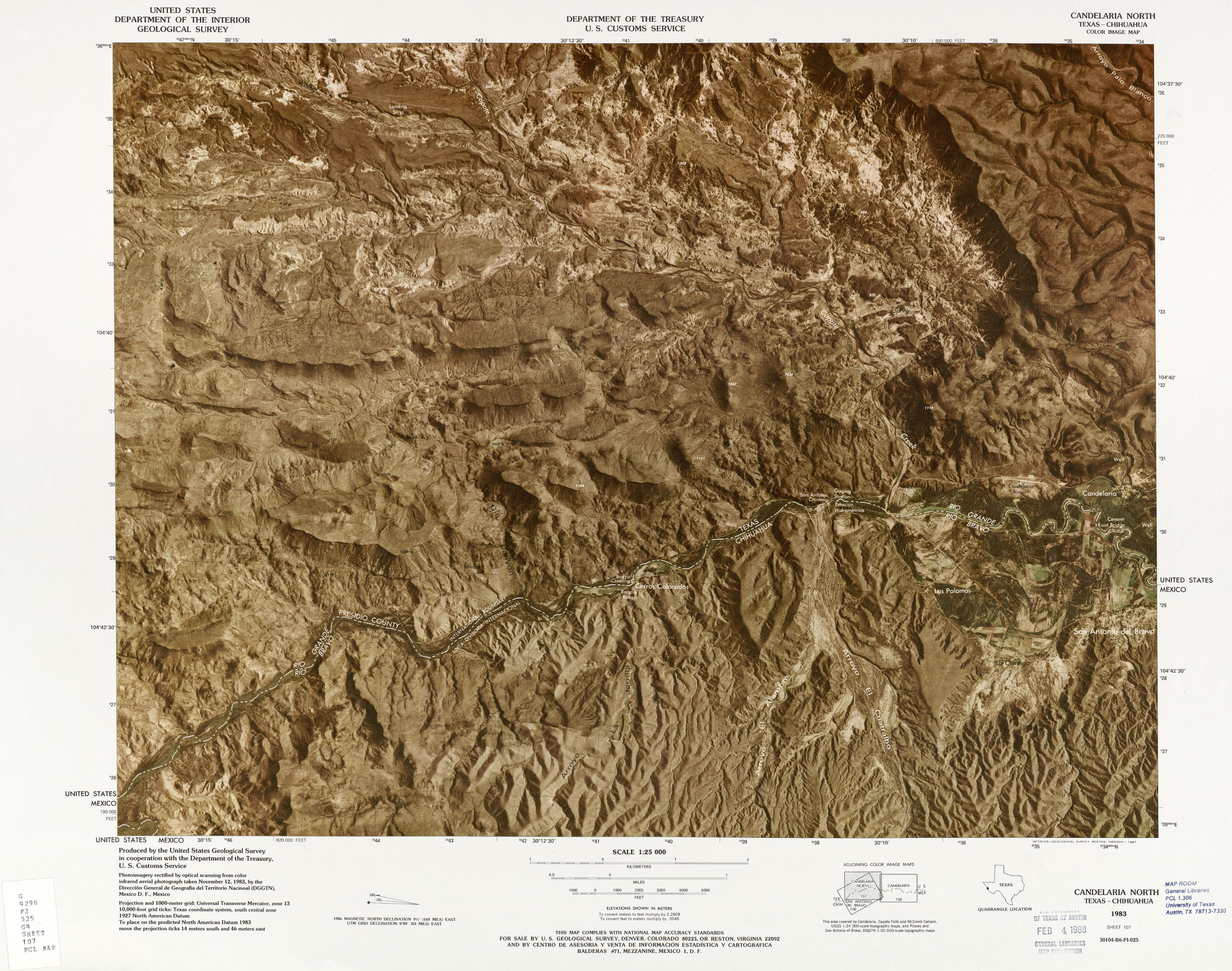 United States-Mexico Border Map, Candelaria North