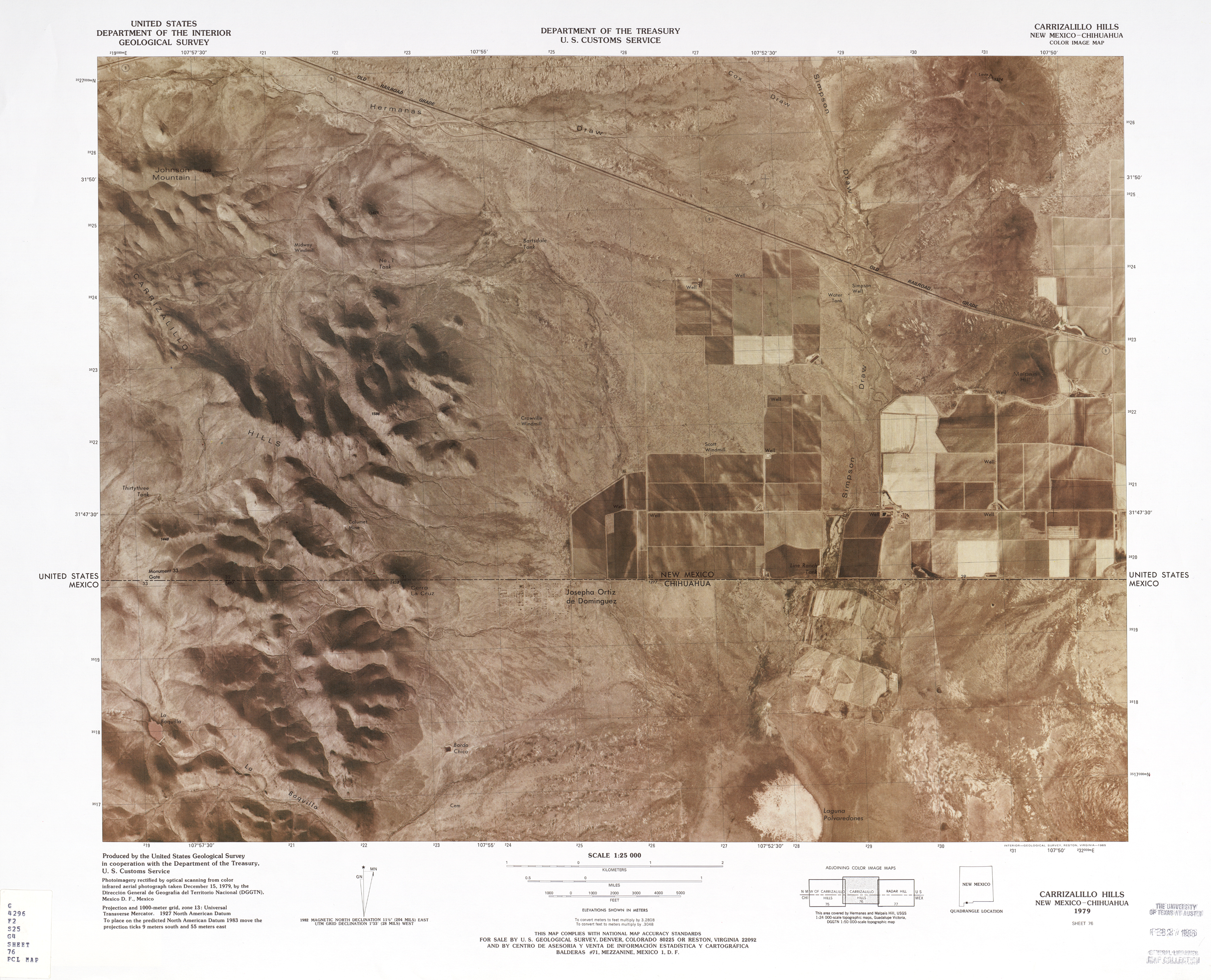 United States-Mexico Border Map, Carrizalillo Hills