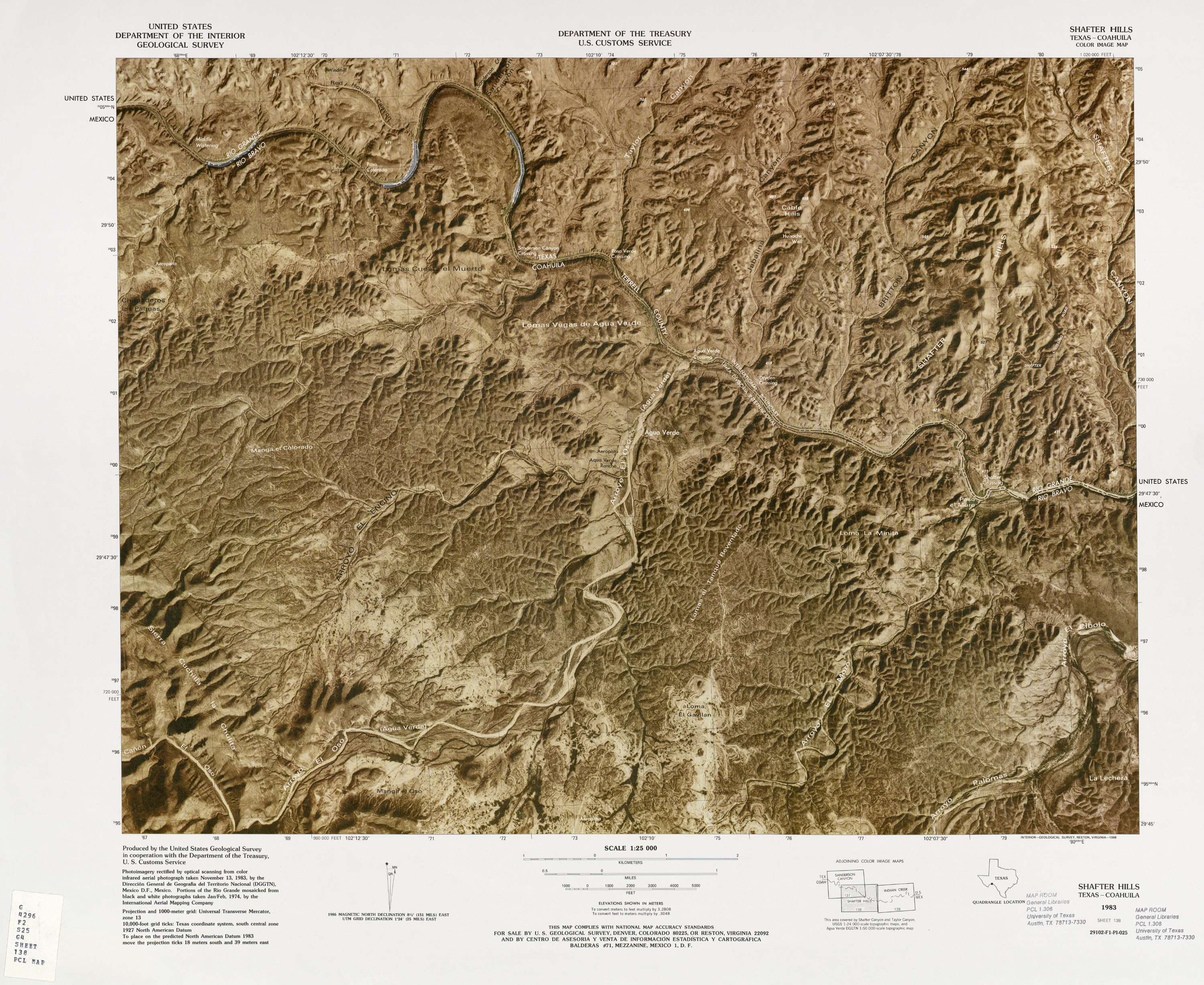 United States-Mexico Border Map, Shafter Hills