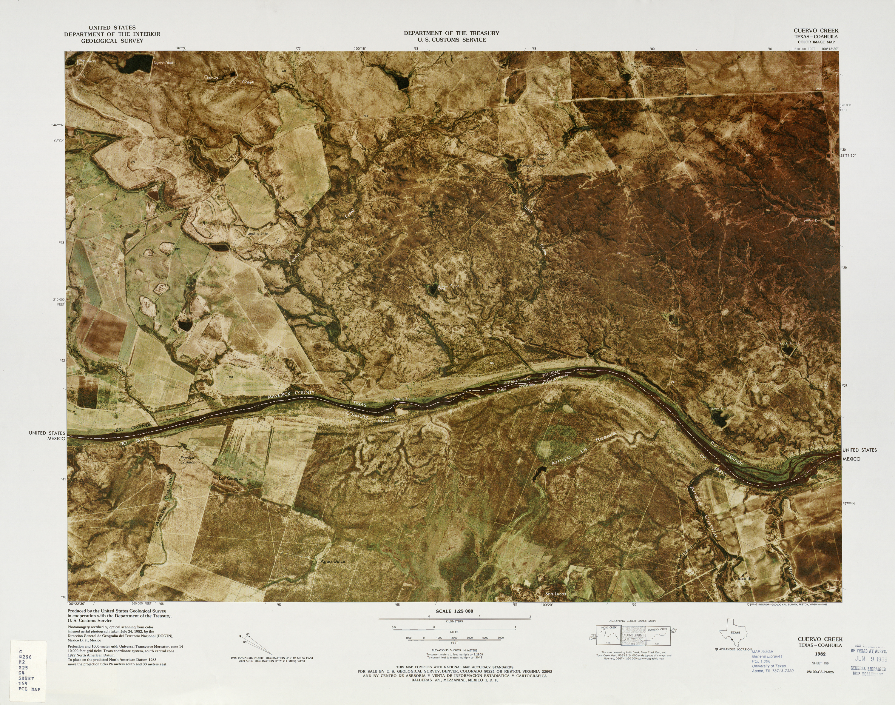 United States-Mexico Border Map, Cuervo Creek