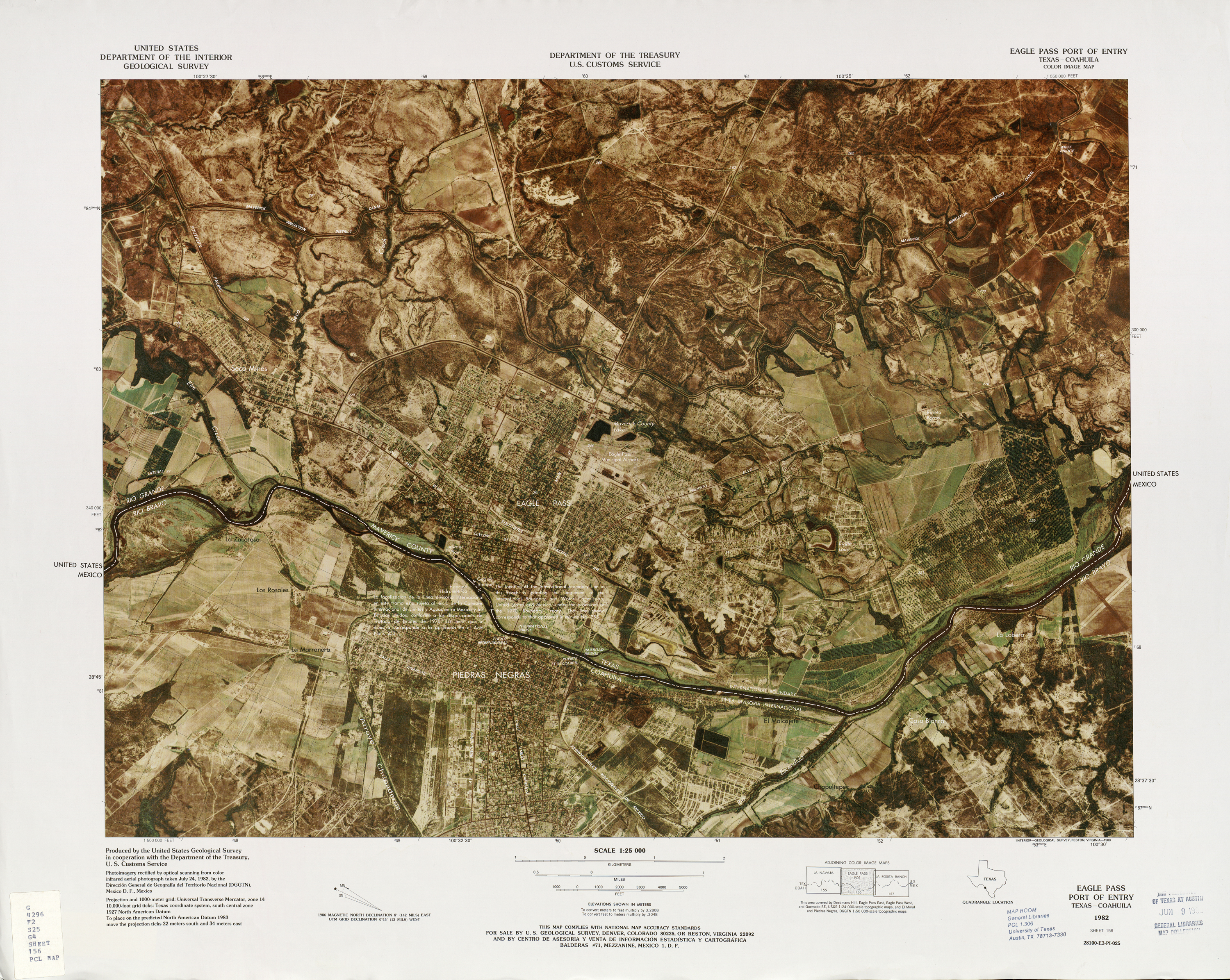 United States-Mexico Border Map, Eagle Pass