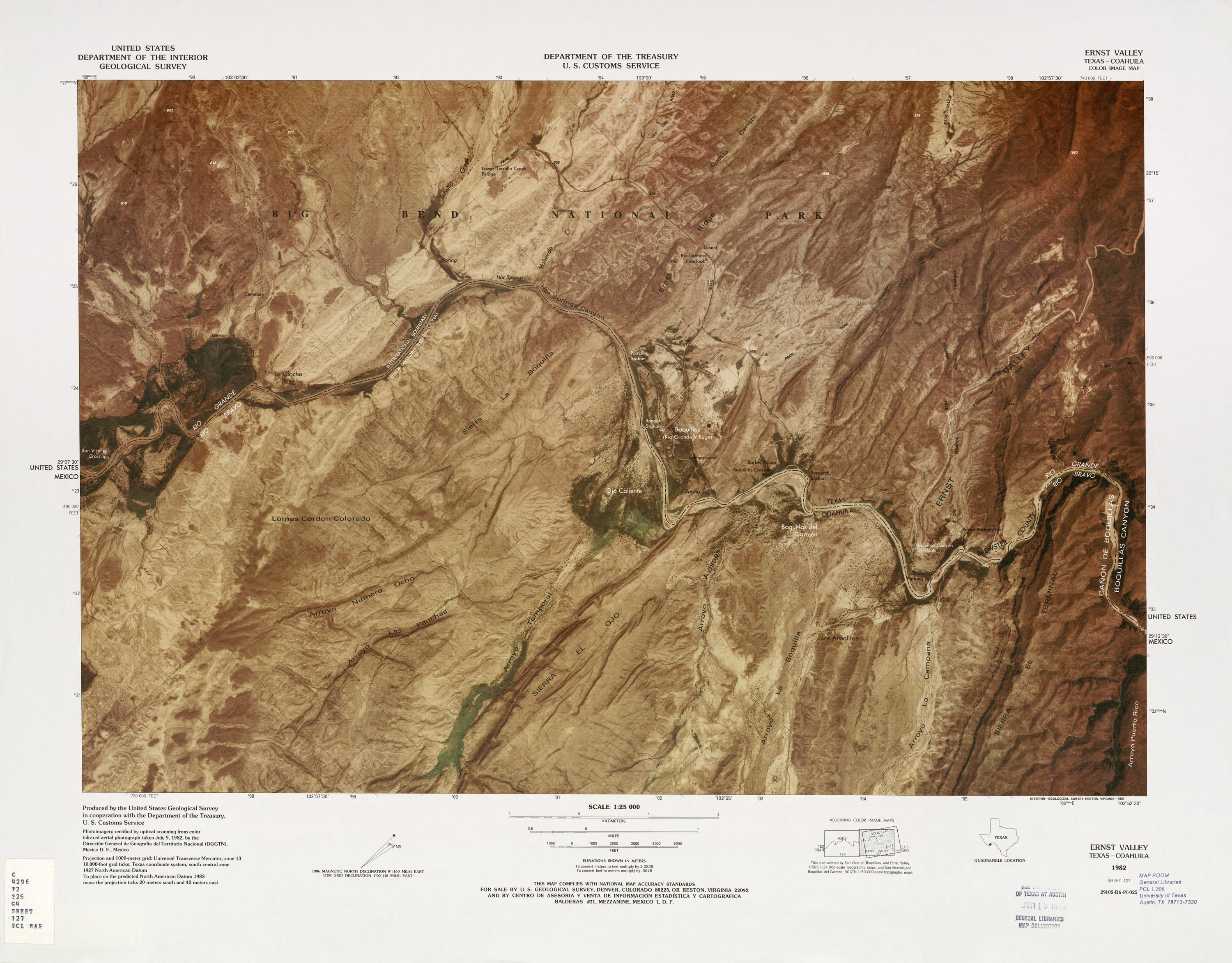 United States-Mexico Border Map, Ernst Valley