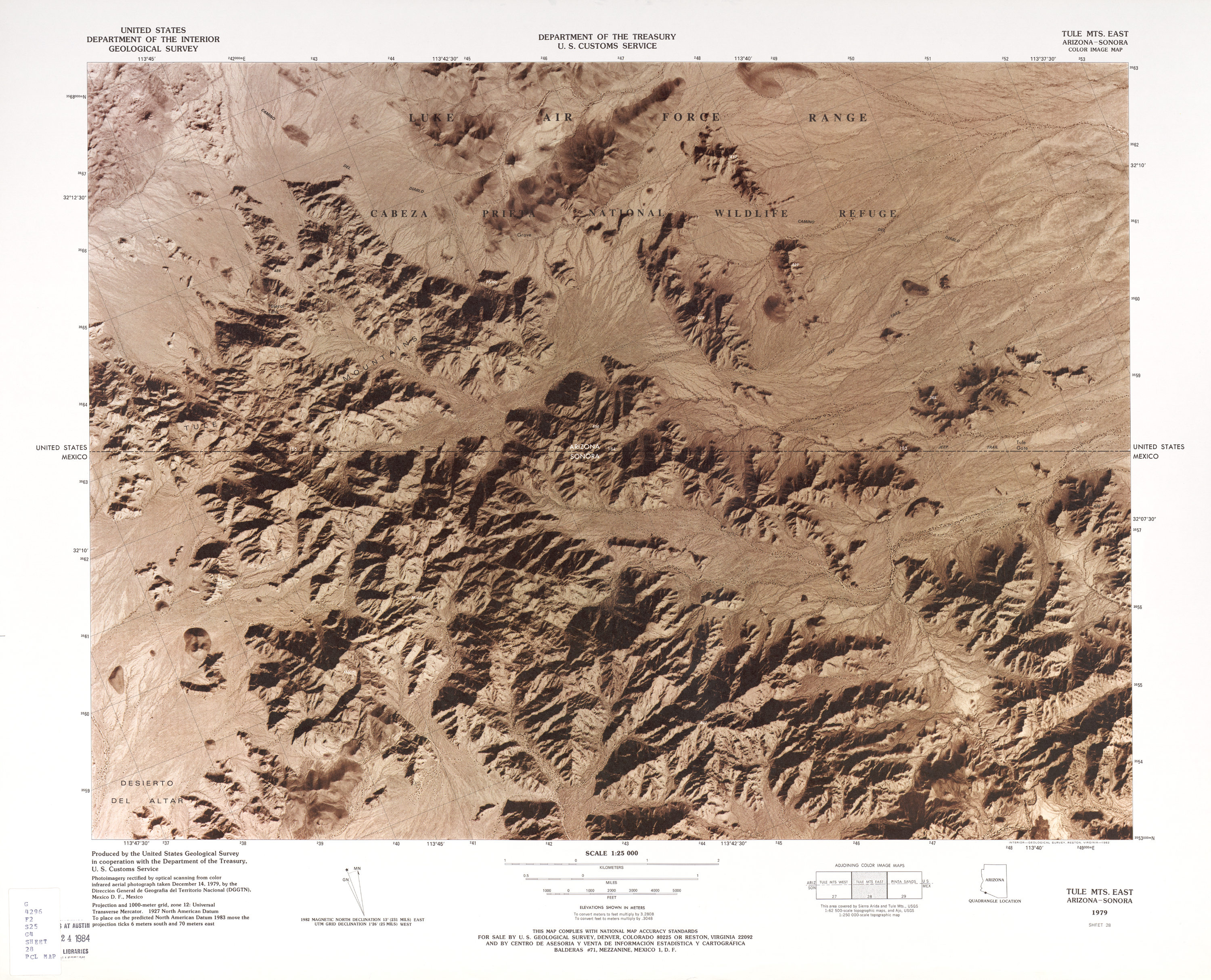 United States-Mexico Border Map, Tule Mts. East