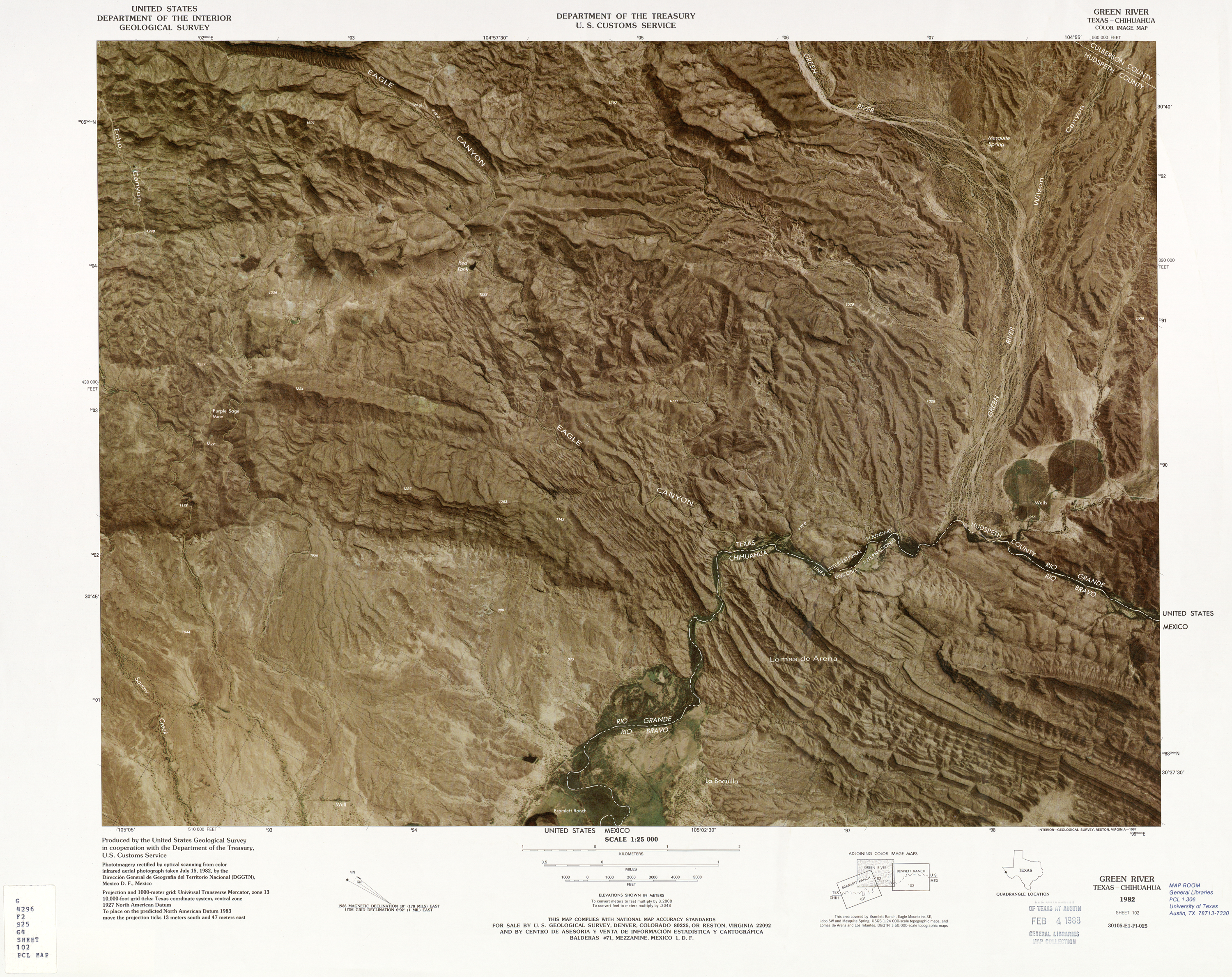 United States-Mexico Border Map, Green River