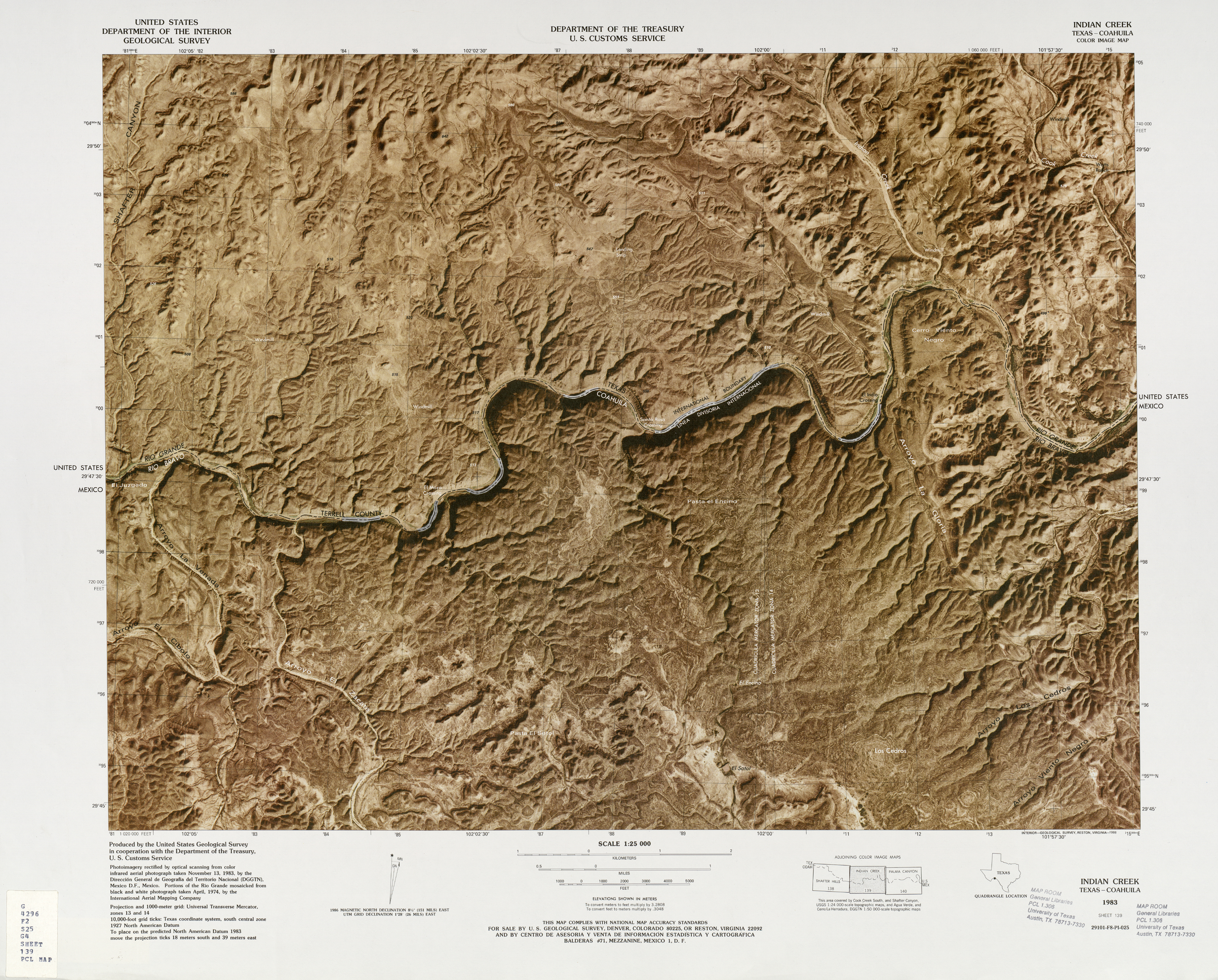 United States-Mexico Border Map, Indian Creek