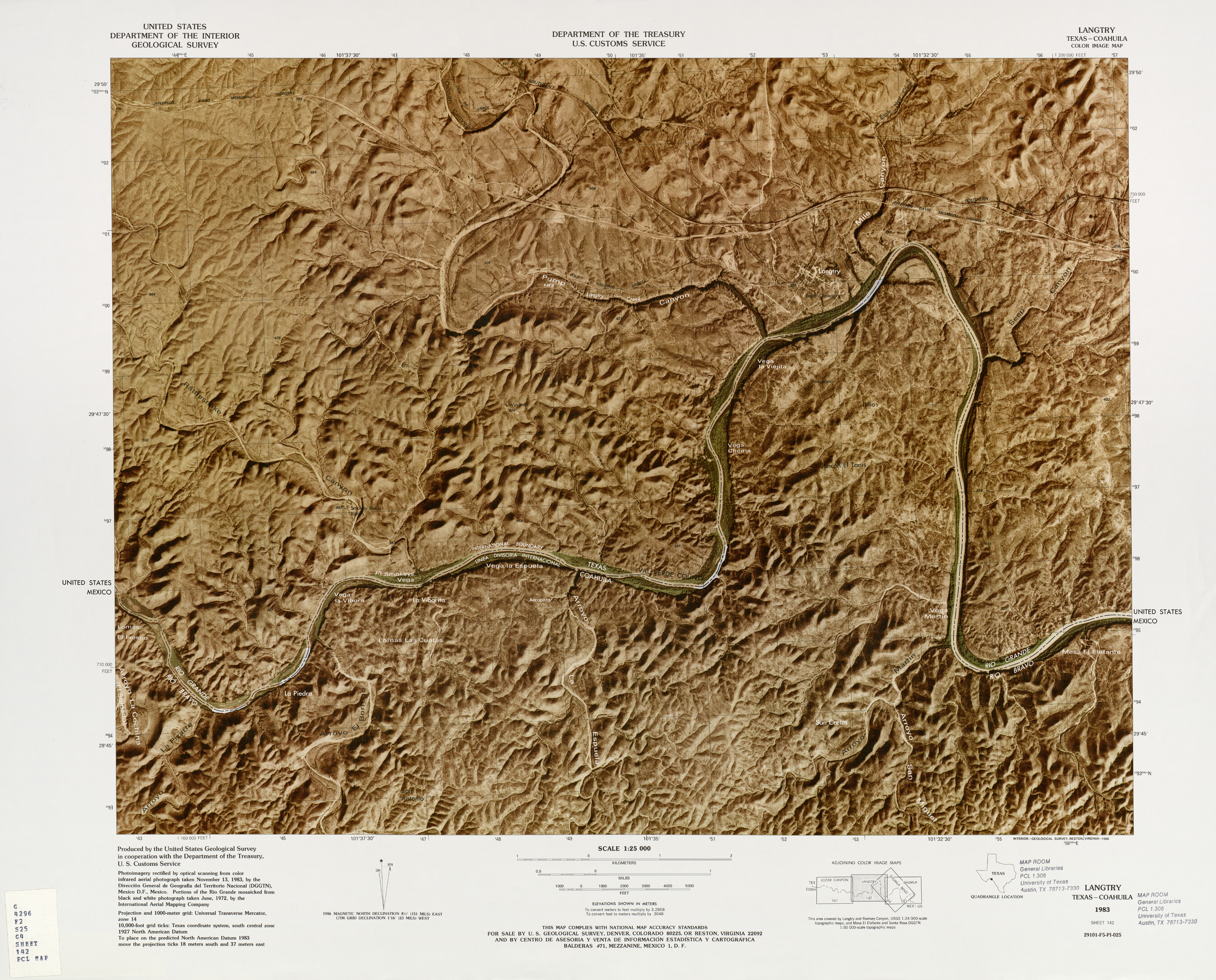 United States-Mexico Border Map, Langtry