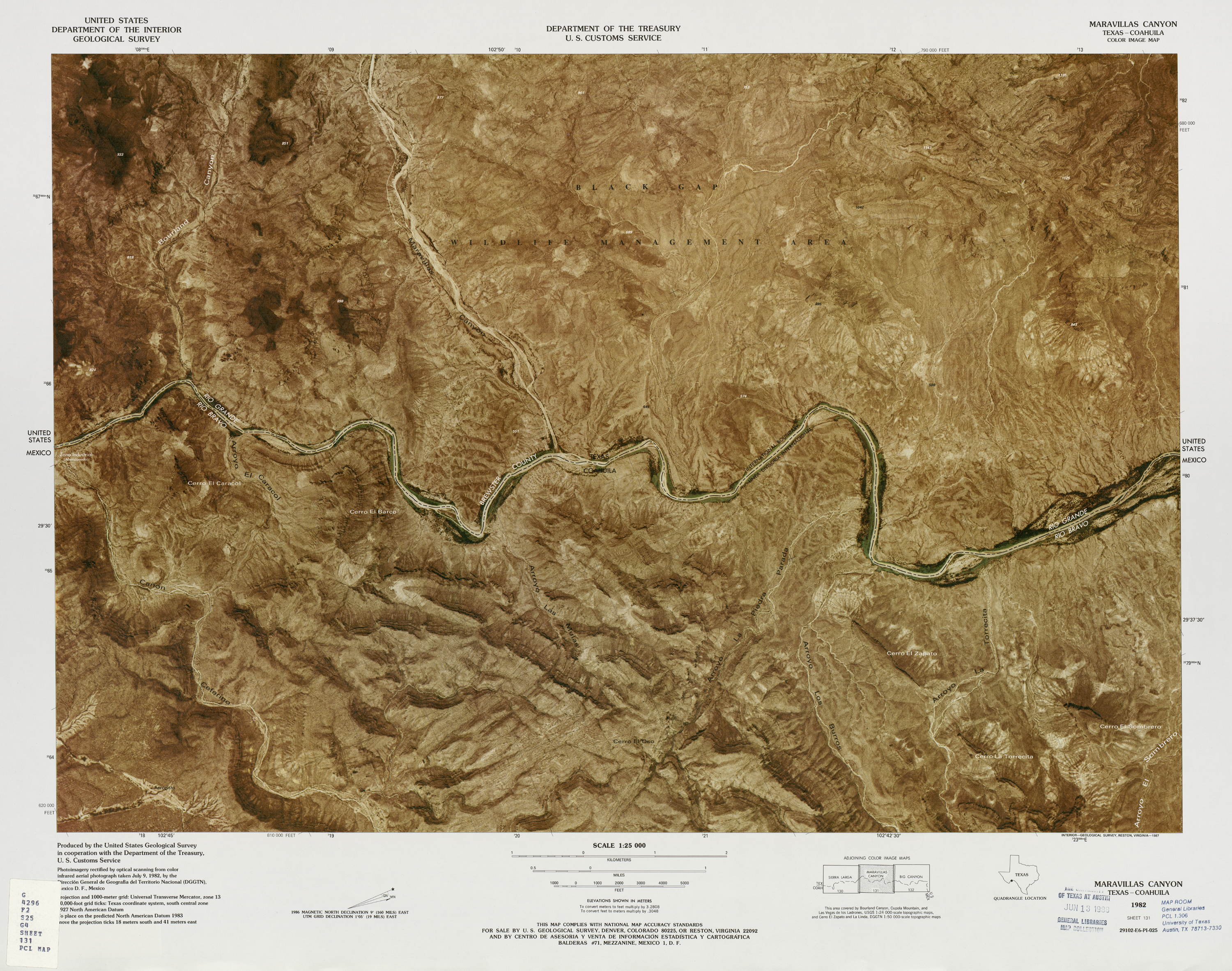 United States-Mexico Border Map, Maravillas Canyon